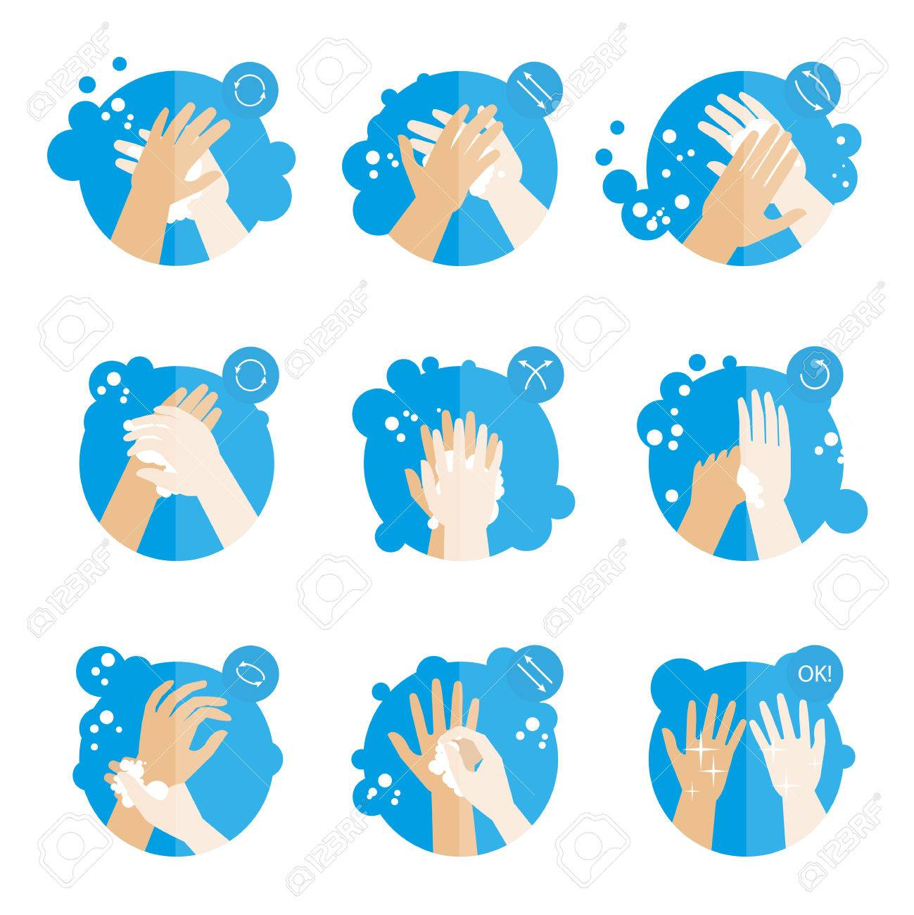 Washing hands properly - medical instructions for health. Clean hygiene procedure with soap. Set of fat icons. Isolated vector illustrations - 64471003