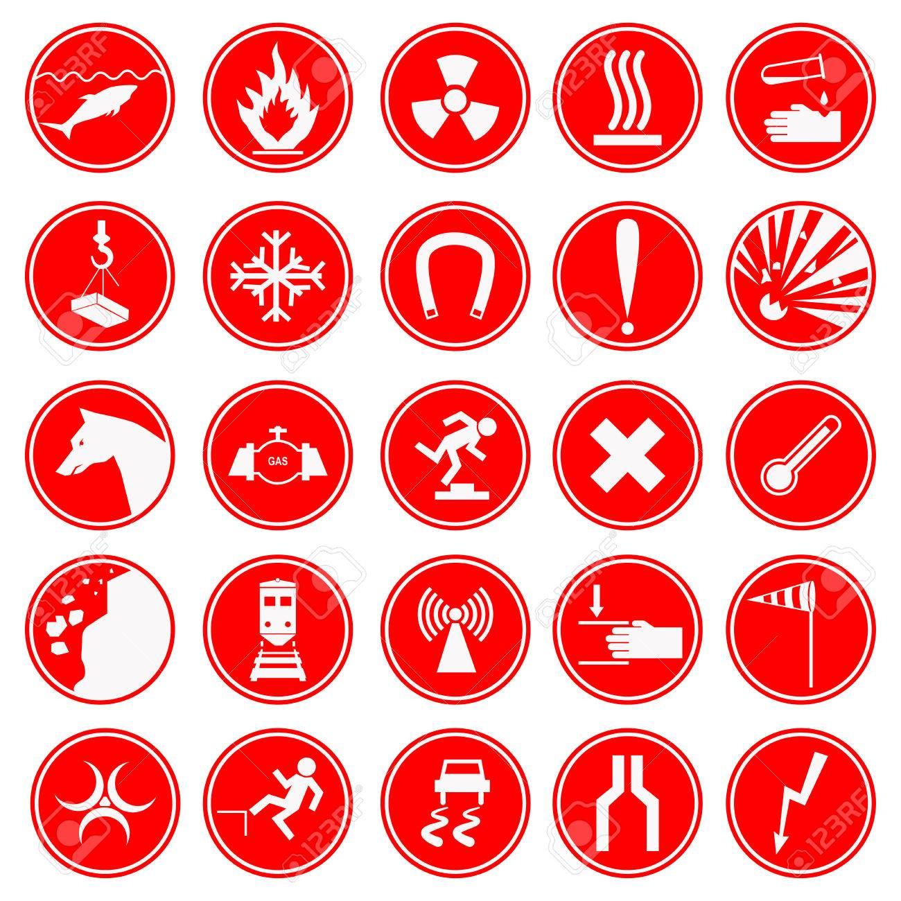 d3899919e4c6a Conjunto de señales de advertencia y peligro. Iconos de precaución.  Colección de símbolos de