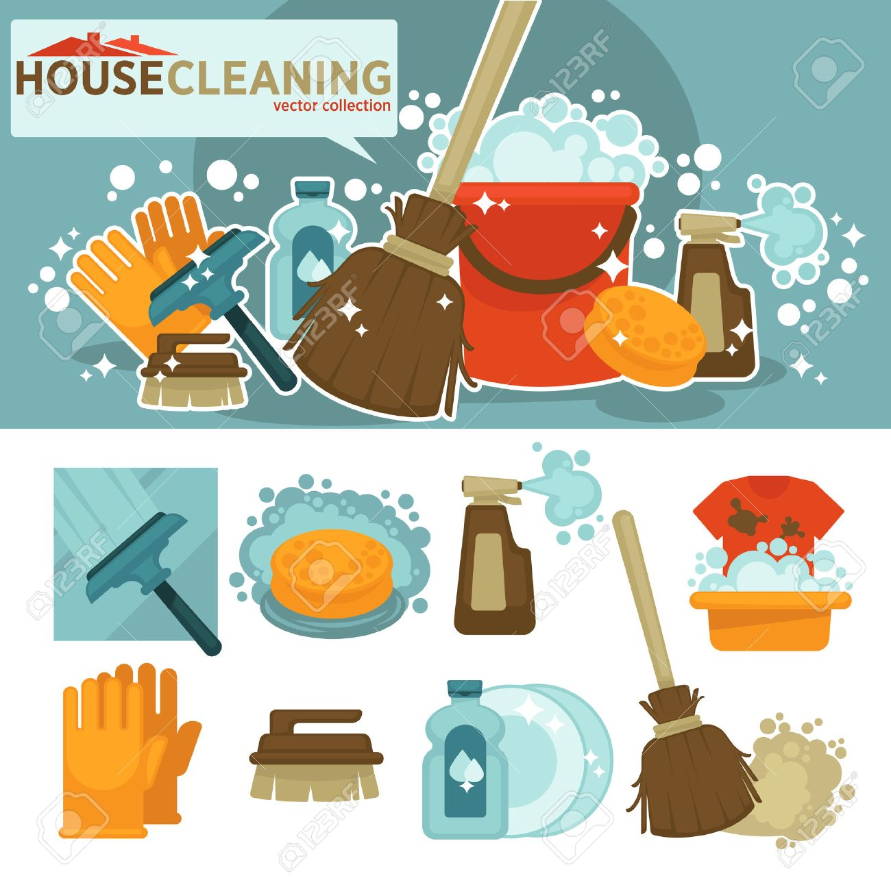Set Of Cleaning Service Symbols Equipment For Cleanup And Housework