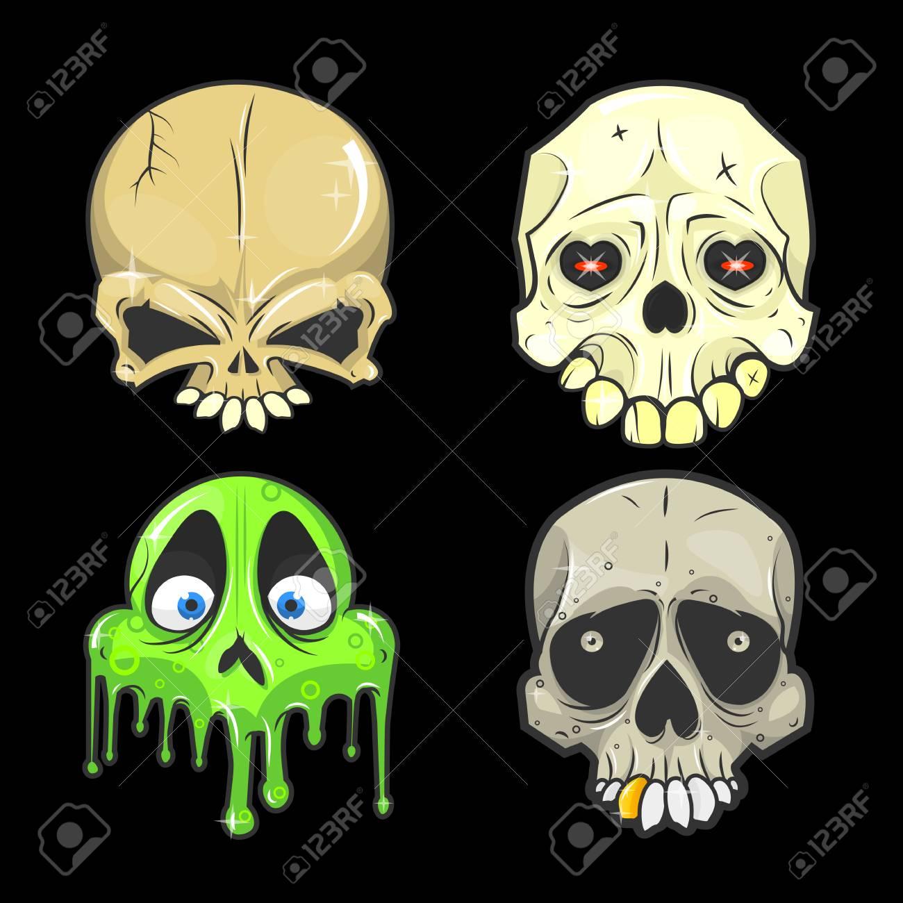 Set Of Halloween Skulls Halloween Symbol Of Day Of The Dead Or Halloween Spooky