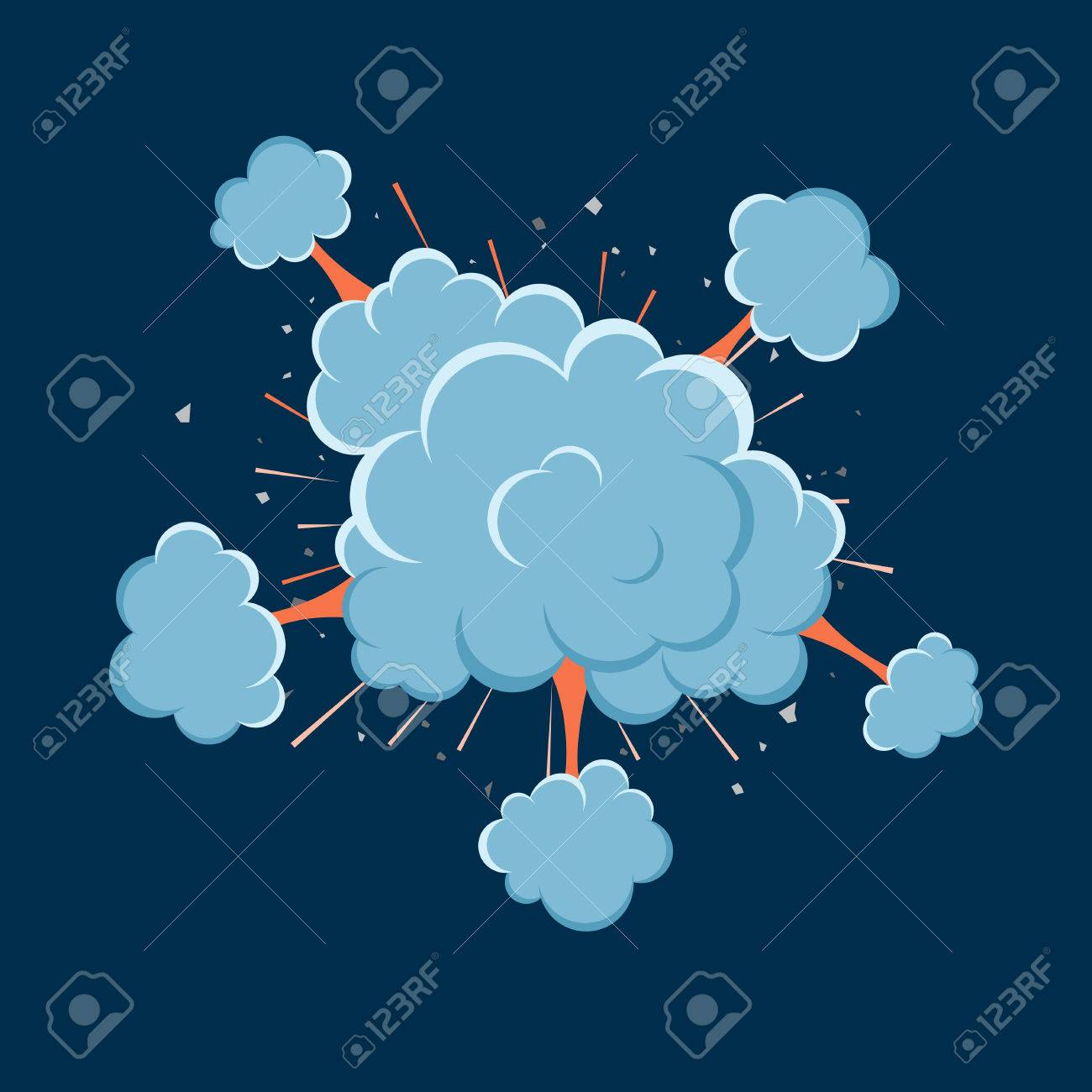 Cartoon vector bomb explosion with smoke  Cartoon style  Effect
