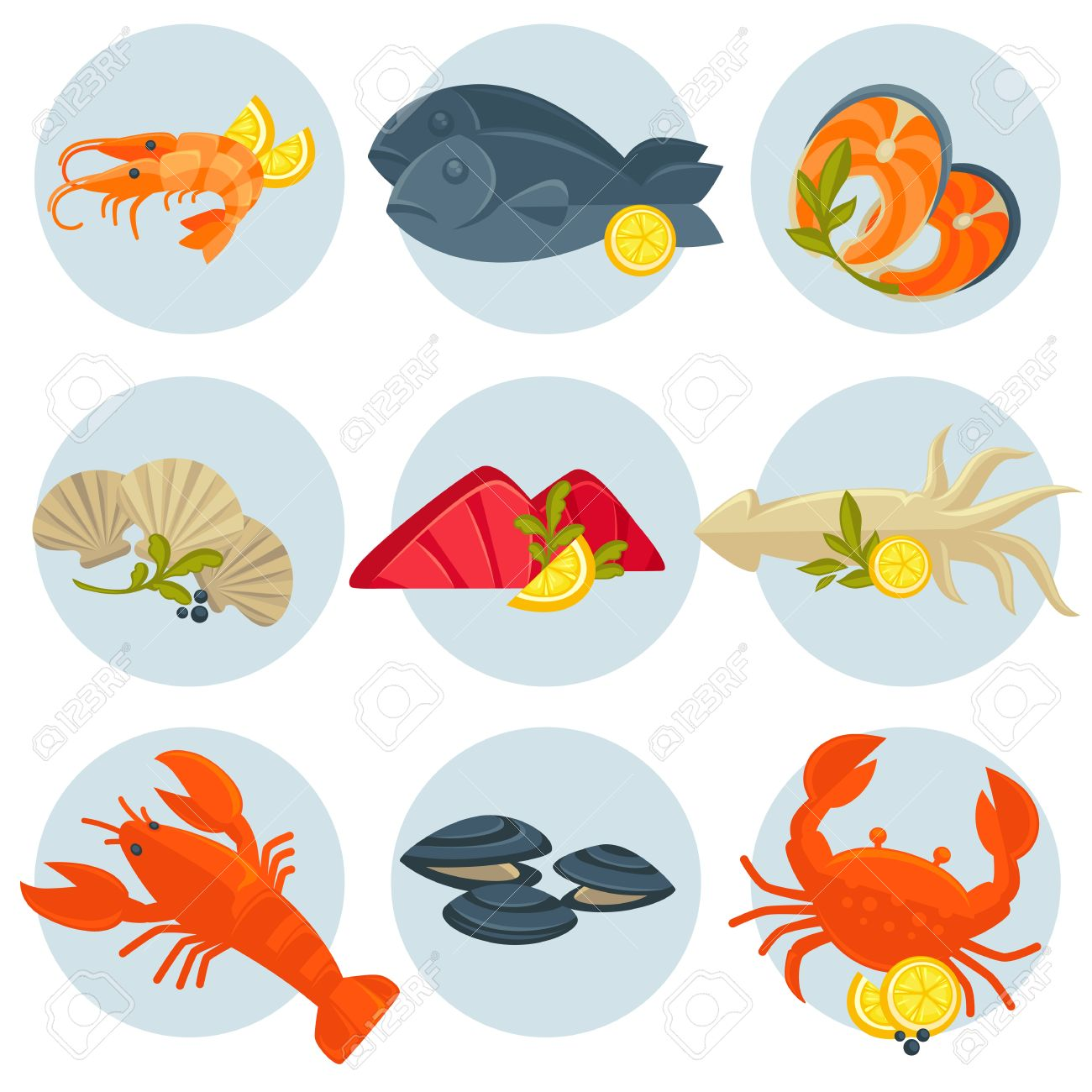seafood set crab lobster fish and shrimp squid and salmon rh 123rf com Oyster Shell Clip Art Oyster Illustration