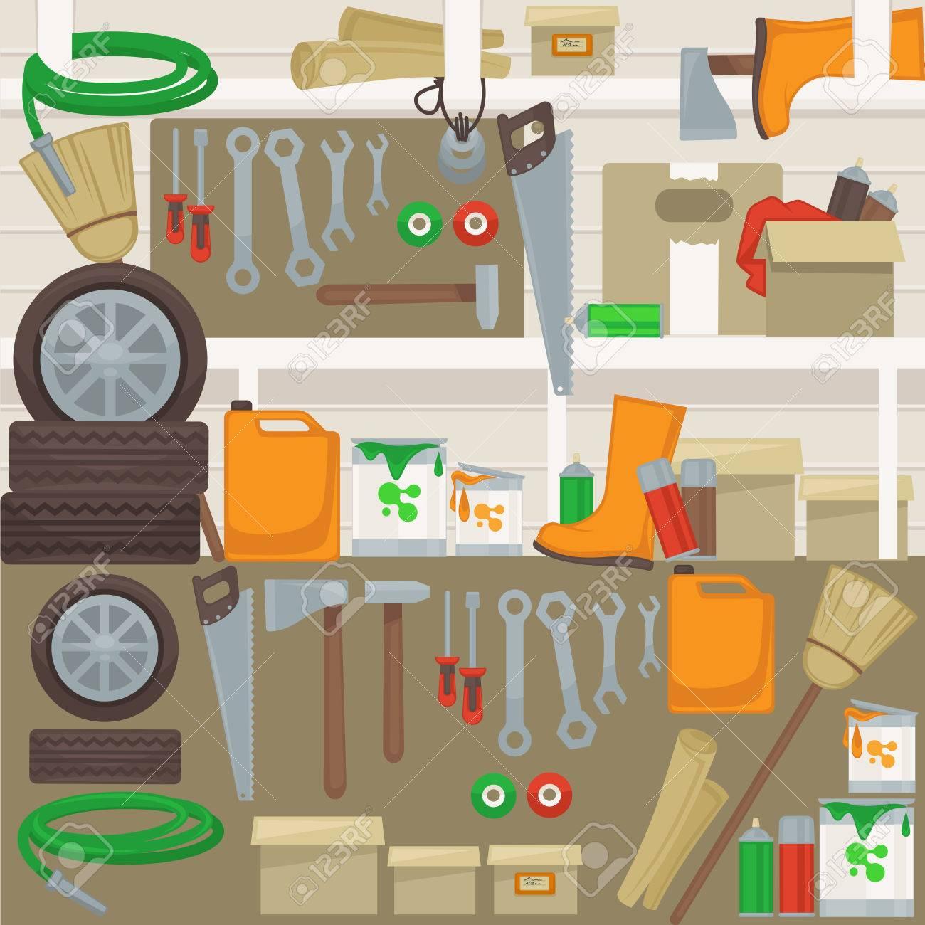 Les Outils De Travail Sur Le Mur Dans Le Garage Accueil Ensemble De Construction Et De Réparation Des Outils Marteau Perceuse Et Clé Scie Et Un