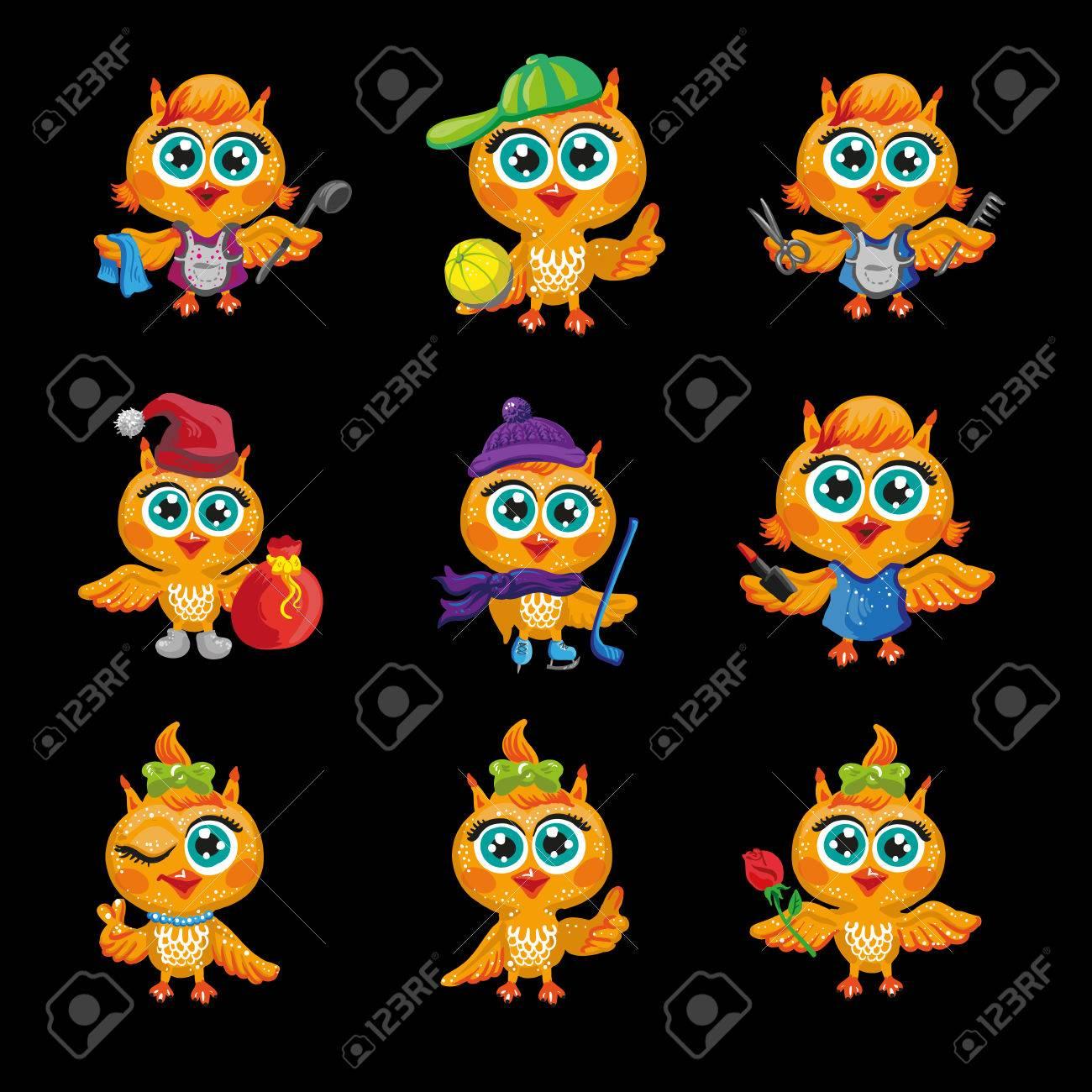 Vector Conjunto De Los Búhos Lindos Personajes De Dibujos Animados