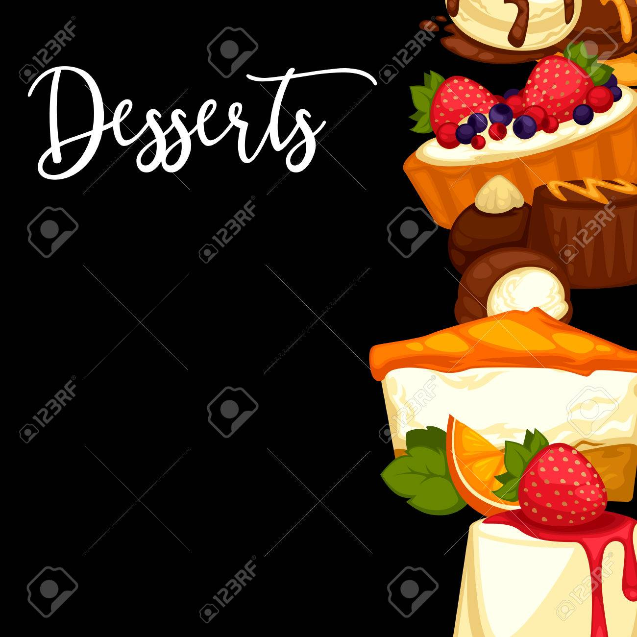 delicious sweet dessert menu template for cafe or restaurant