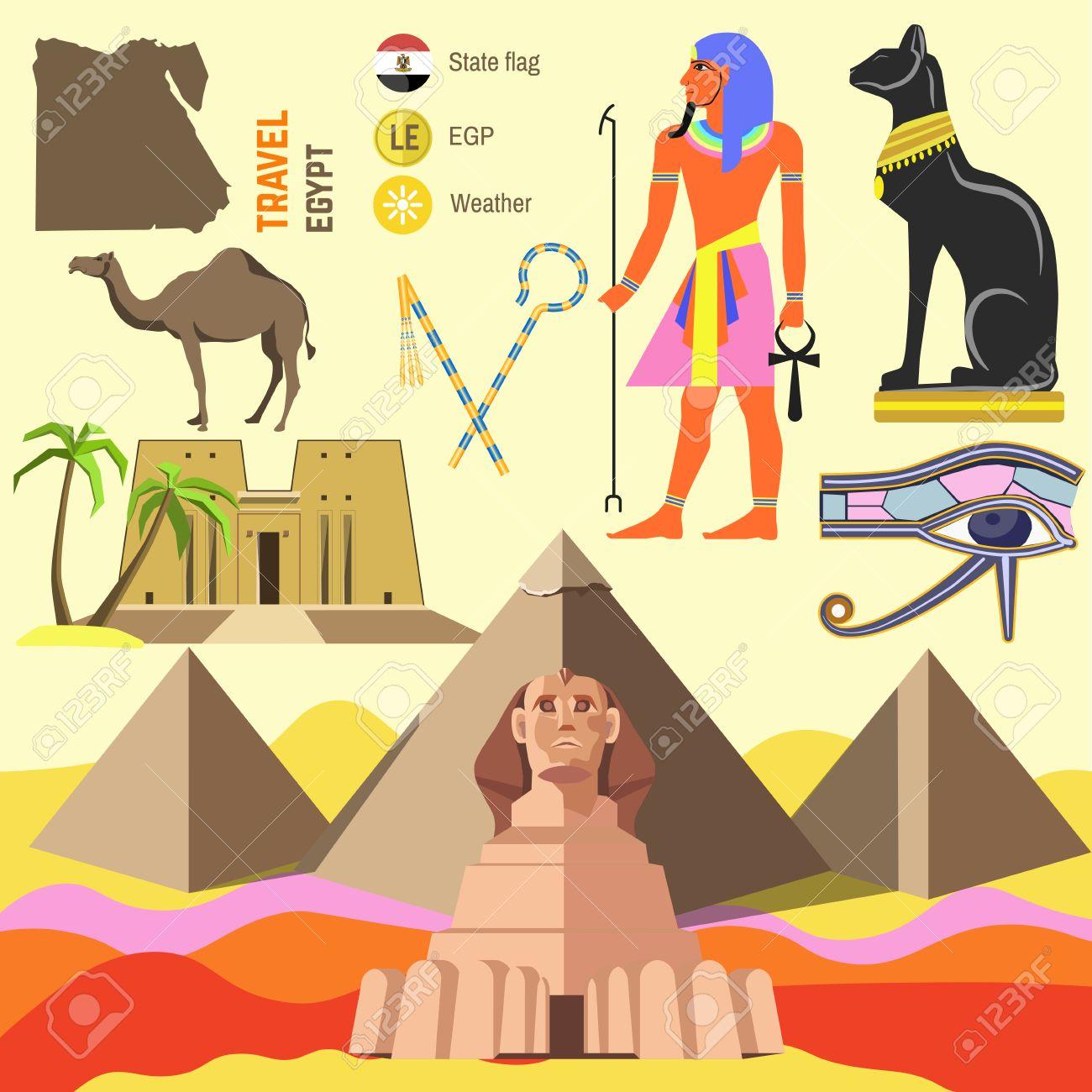 Set Of Egypt Symbols And Landmarks Flat Illustrations Symbols - Map of egypt landmarks