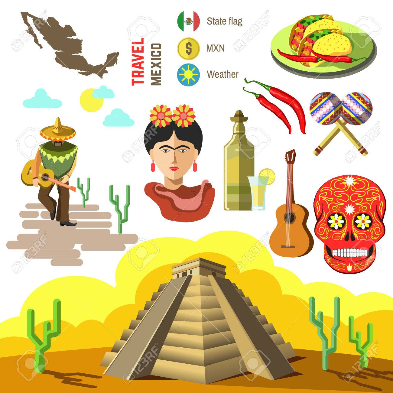 Set of Mexico travel symbols. Mexican flat illustrations. Collection icons tequila, chili and taco, sombrero, guitar and maracas, skull and Machu Picchu pyramid, Frida, flag and map. - 65361479