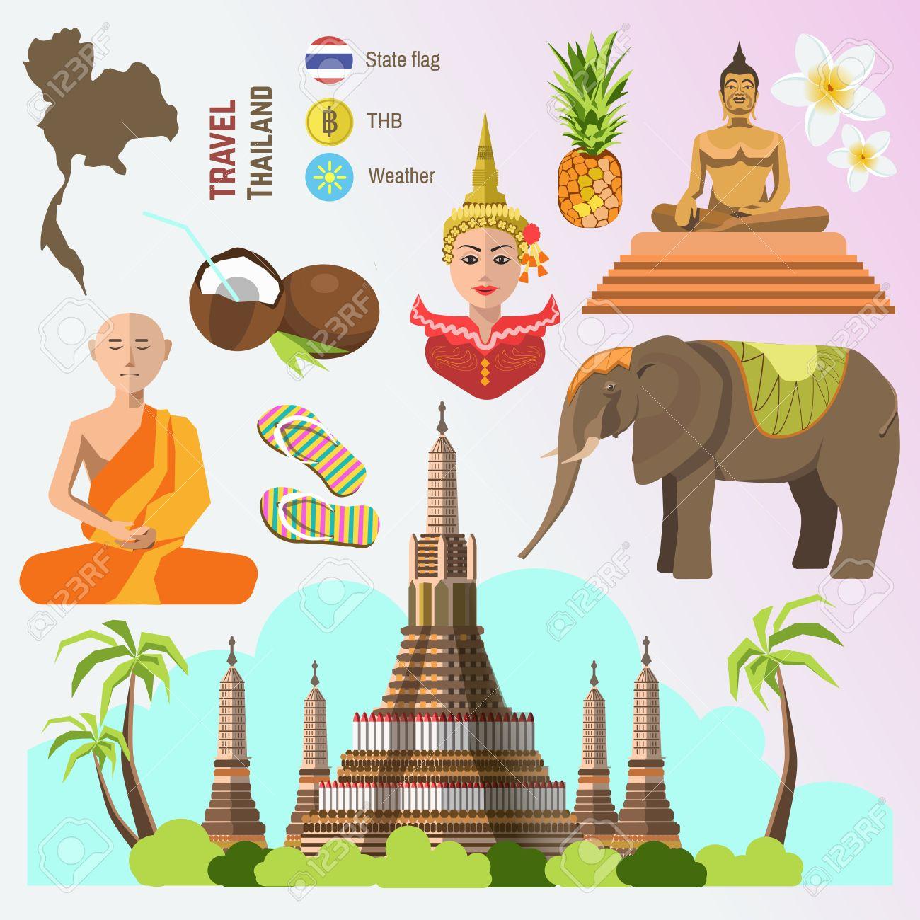 Set Of Thailand Travel Symbols And Bangkok Landmarks Thai Culture