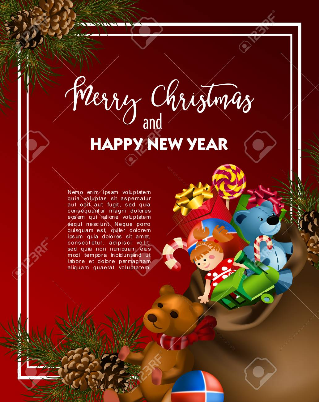 Christmas Greeting Card Template With Fir Tree And Vintage Toy