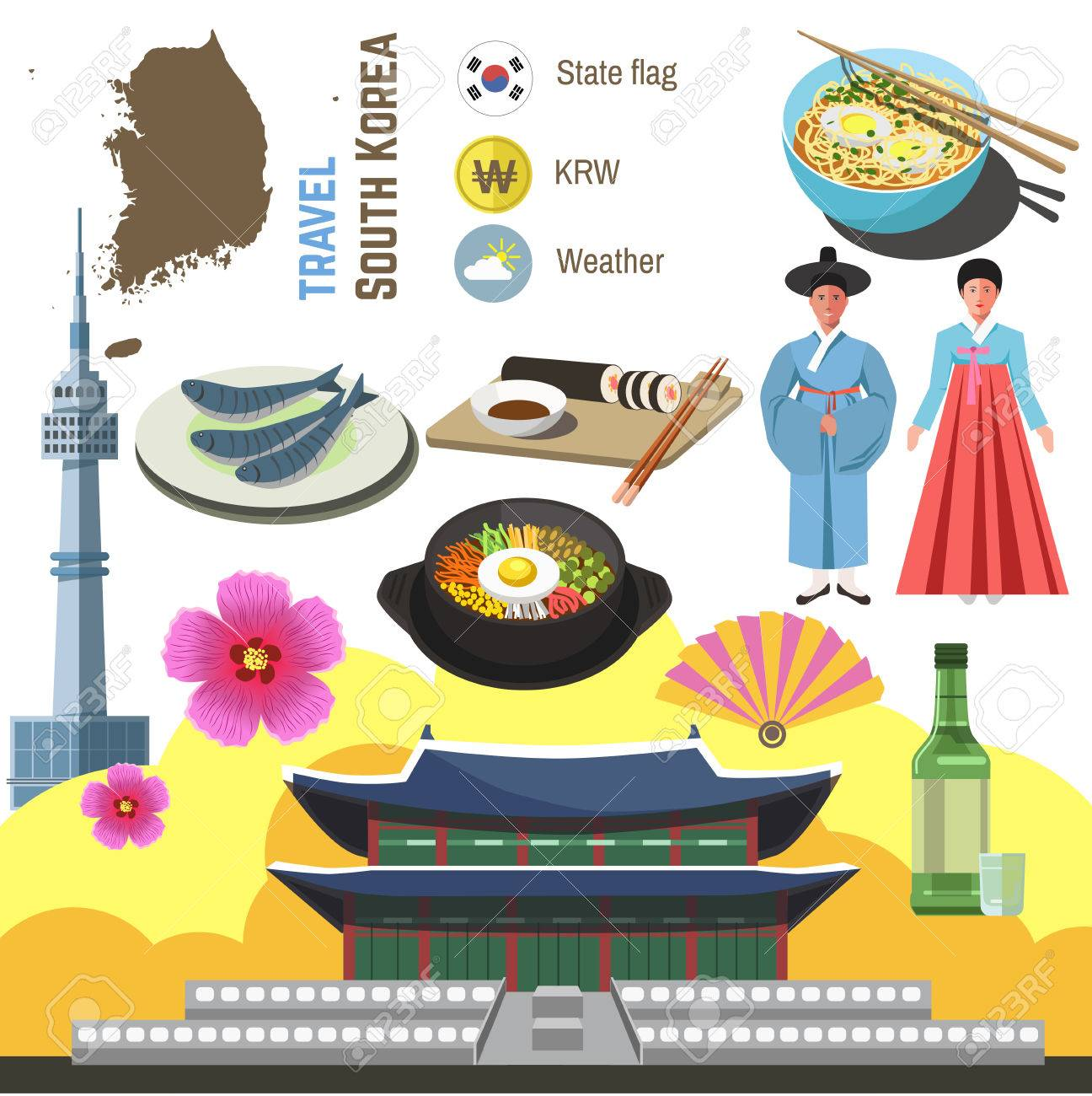 South Korea culture symbol set. Travel Seoul direction concept. Vector icons. Flat isolated illustration - 67674077
