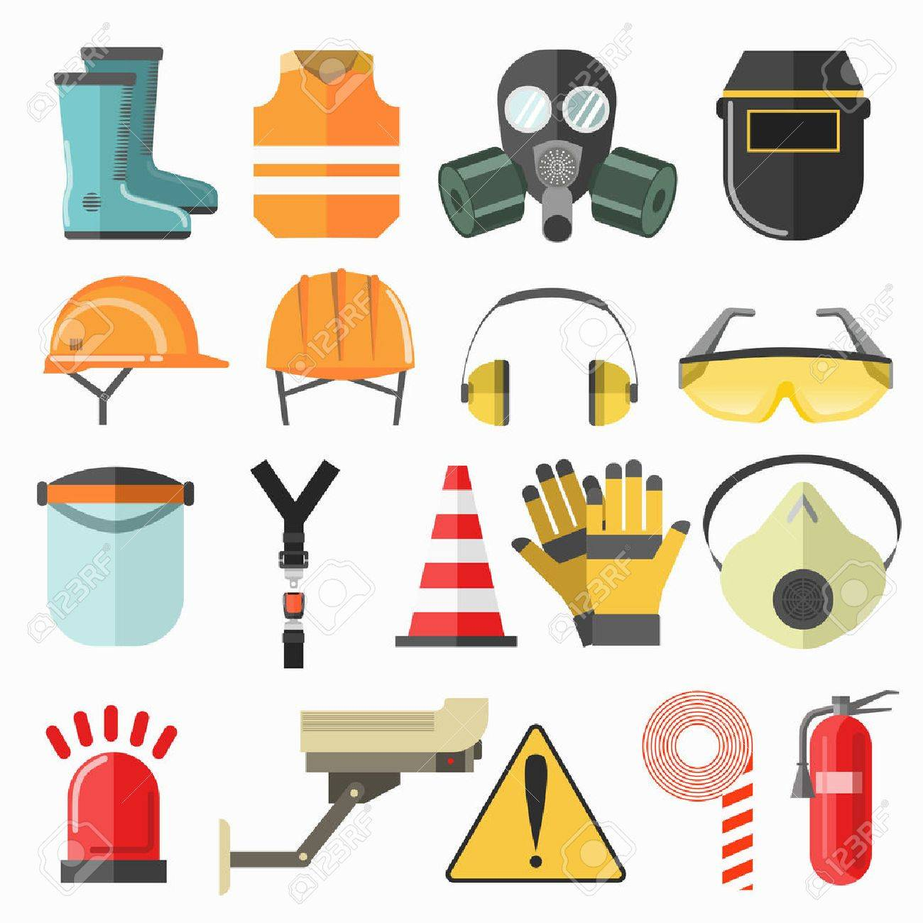 Safety work icons. Safety at work vector icons collection. Vector flat illustration. - 67679709