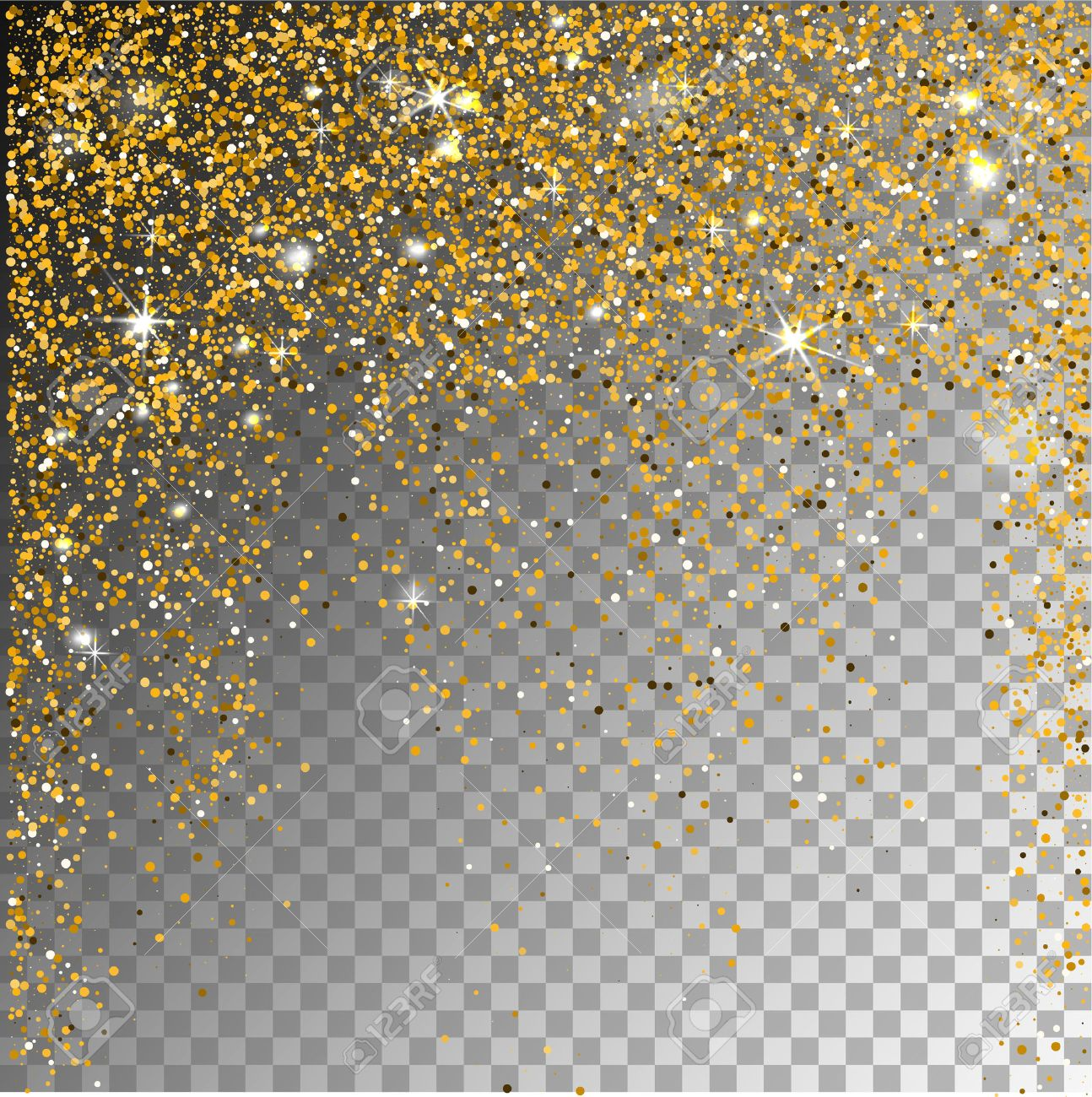 Gold glitter bright vector transparent background golden sparkles - Falling Snow Gold Glitter Particles On A Transparent Sparcle Background Abstract Snowflake Background Vector