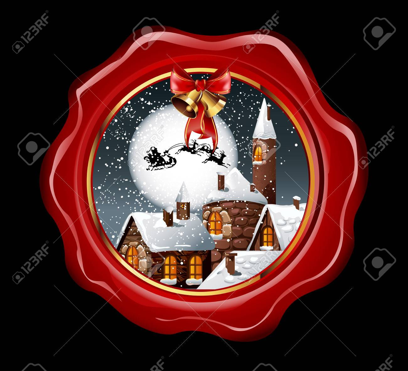 ee46200ad1 Christmas illustration of wax seal with snowy town and santa claus flying  on his sleigh on