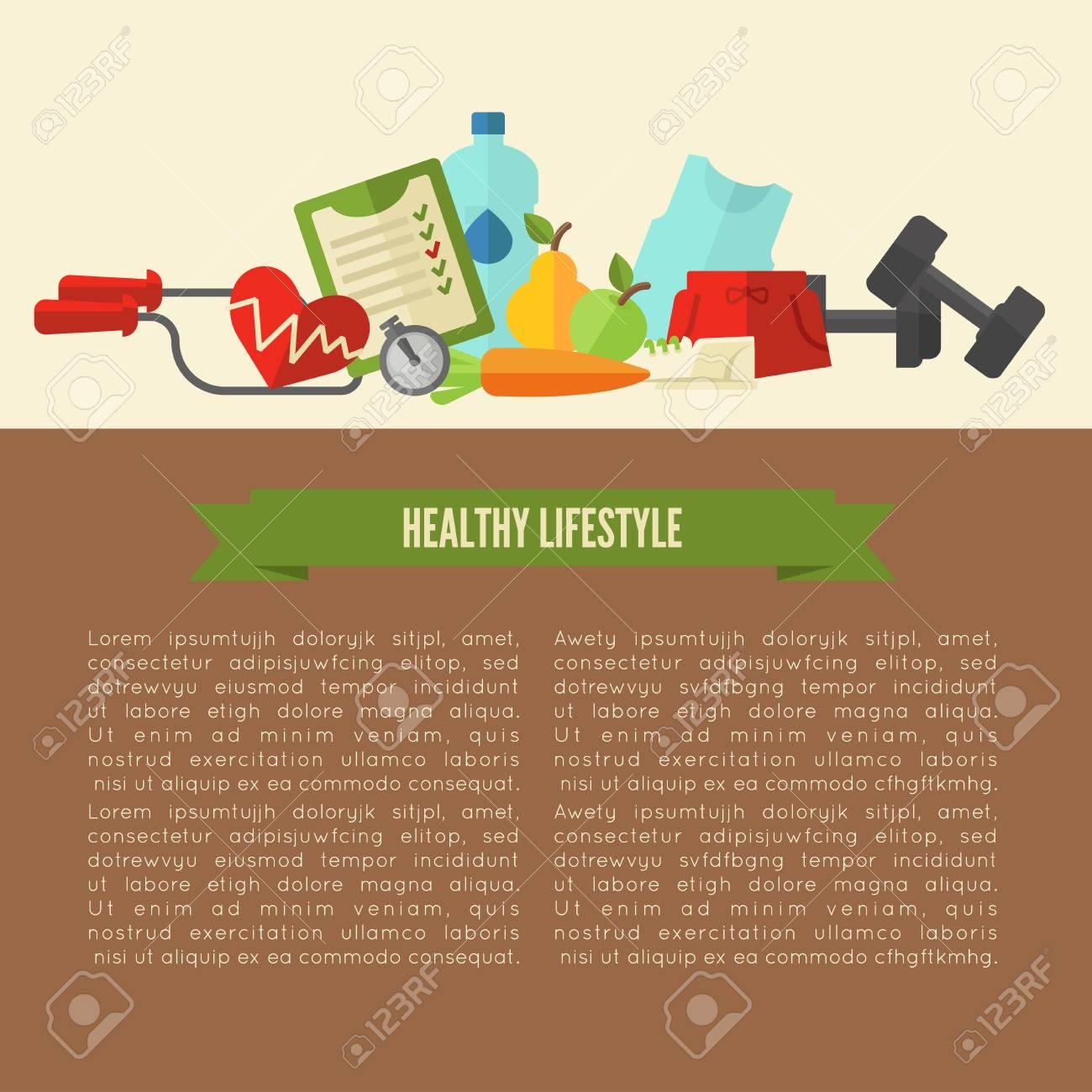Diseño De Plantilla De Estilo De Vida Saludable. Concepto De ...