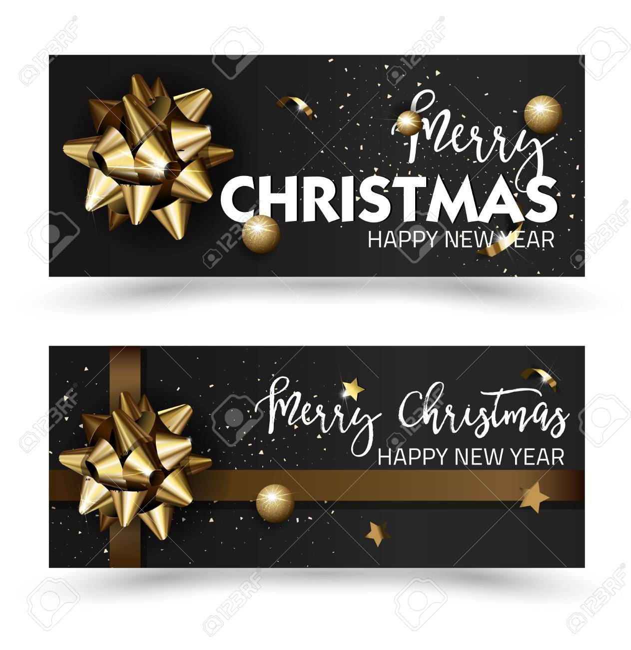 merry christmas or happy new year web banner design template greeting cards with golden bows