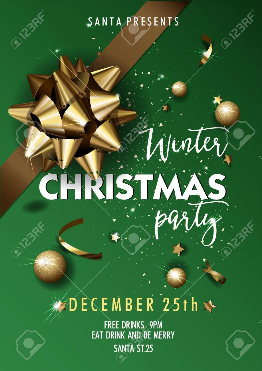 Merry christmas party layout poster template design for your merry christmas party layout poster template design for your holiday invitation vector illustration stopboris Choice Image