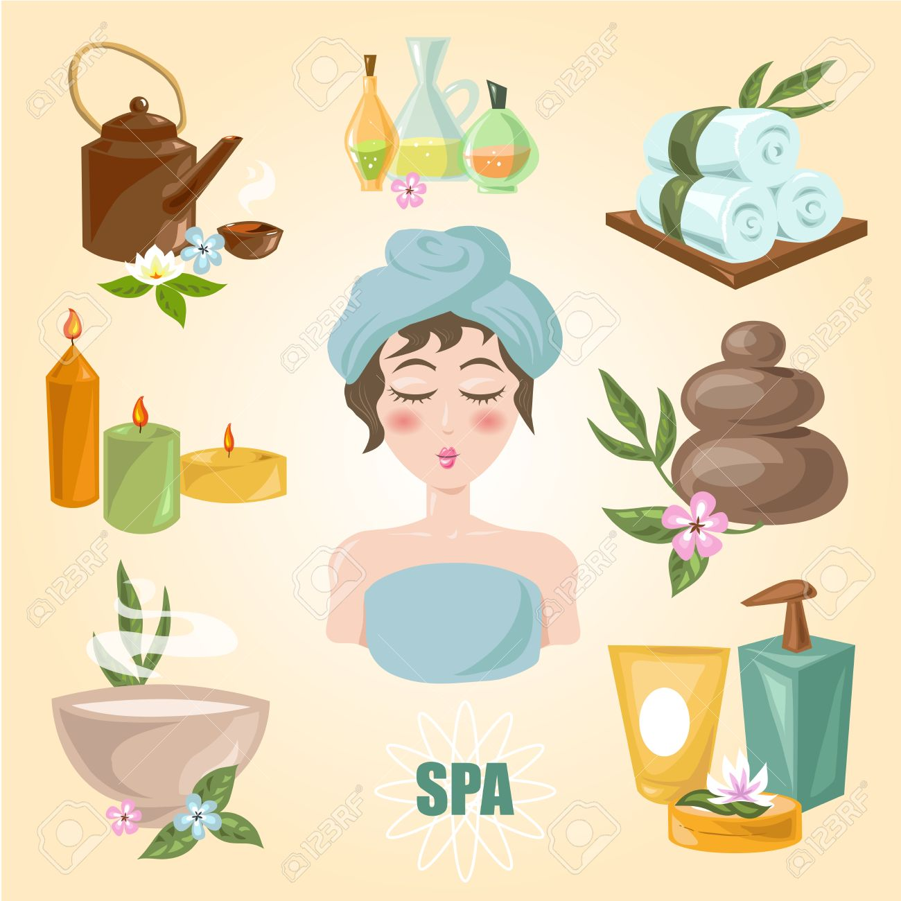 Spa Symbols Cartoon Set Spa Emblems For Beauty Industry Care Royalty Free Cliparts Vectors And Stock Illustration Image 69565224