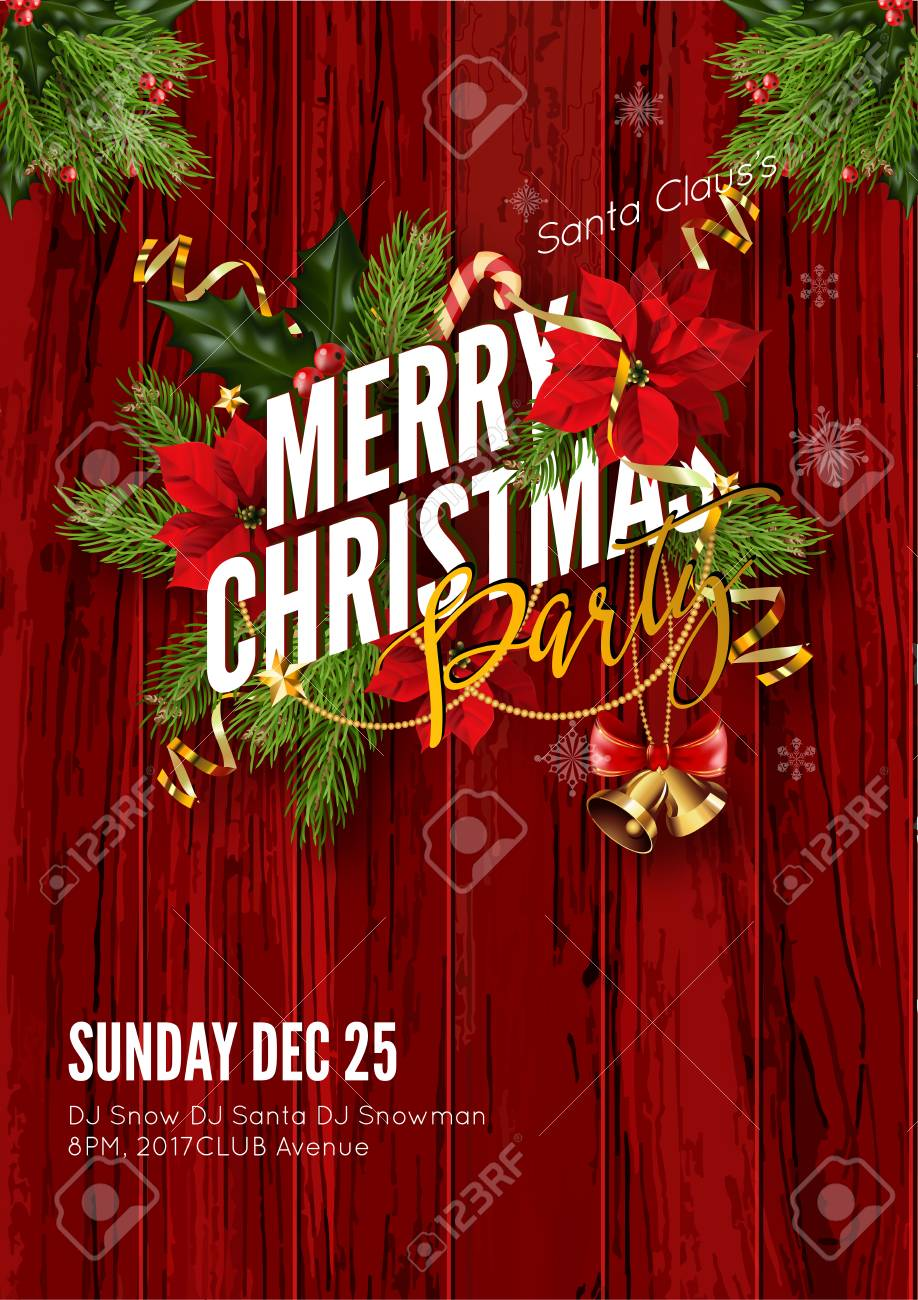 Christmas Party Invitation Template.Merry Christmas Party Invitation Template Design For Your Holiday