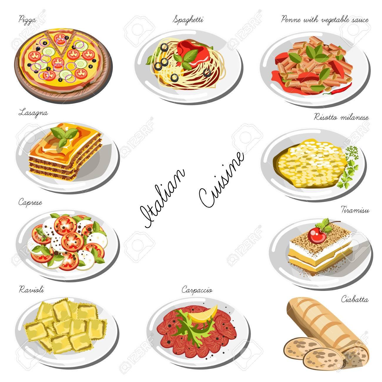 Set Cucina Italiana. Collezione Di Piatti Di Cibo Per La Decorazione ...