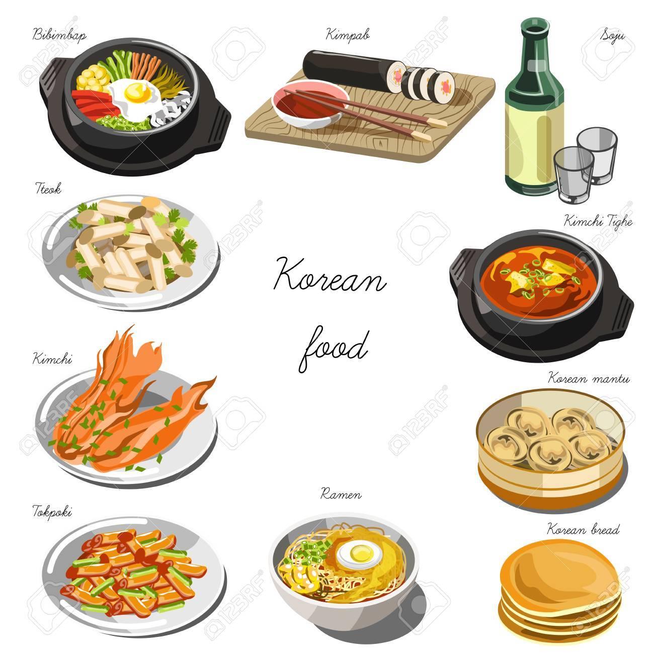 Vettoriale - Set Cucina Coreana Collezione Di Piatti Alimentari Per ...