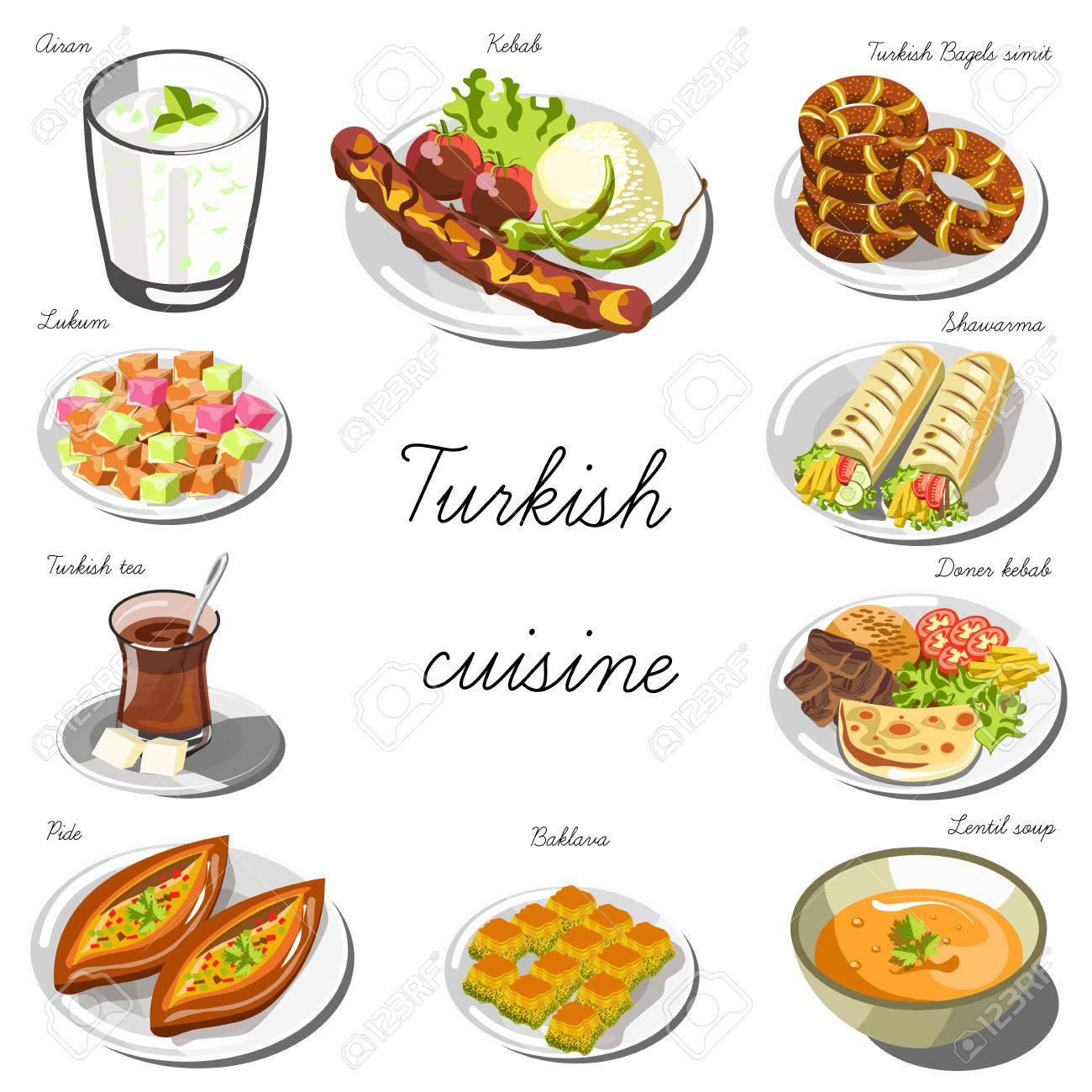 Cucina turca. Raccolta di piatti alimentari per la decorazione di  ristoranti, caffetterie, menù. Illustrazione Vettoriale. Isolato su bianco.