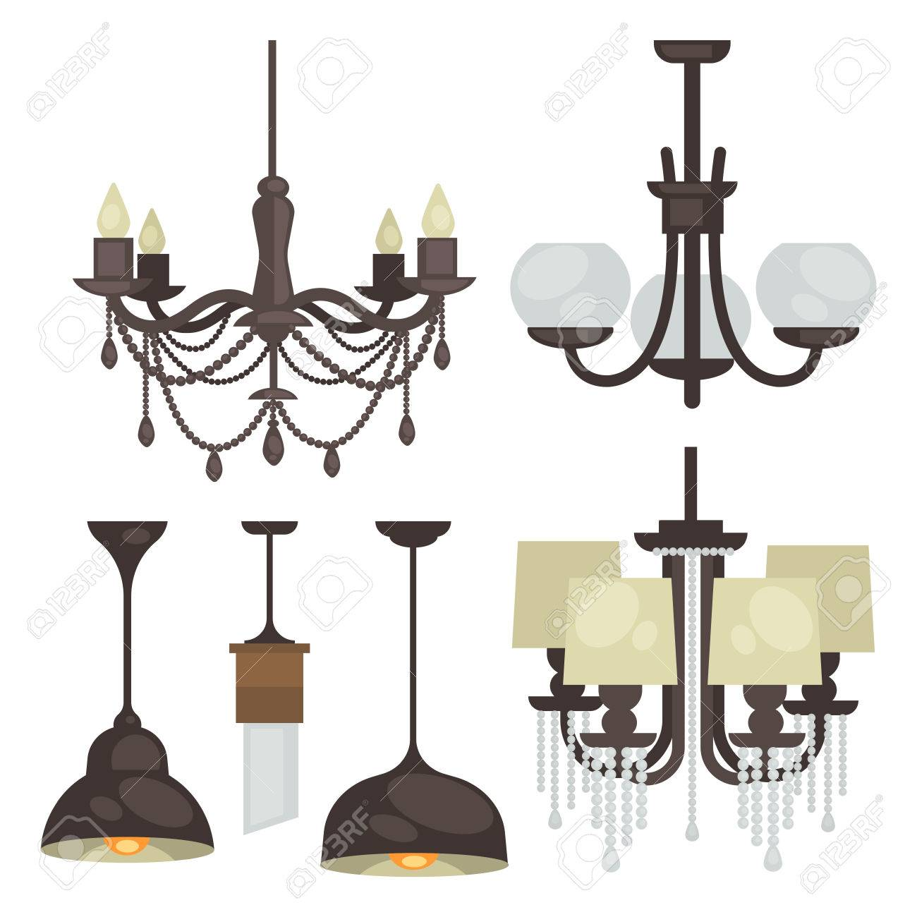 Lamp Set Isolated. Interior Light Design. Electricity Lamps. Chandeliers  Lamps Light Interior Decoration