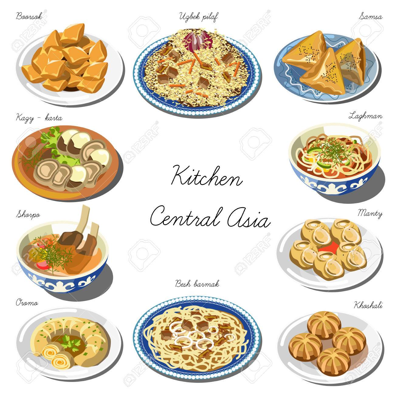 Central Asia Cuisine Set. Collection Of Food Dishes Royalty Free ...
