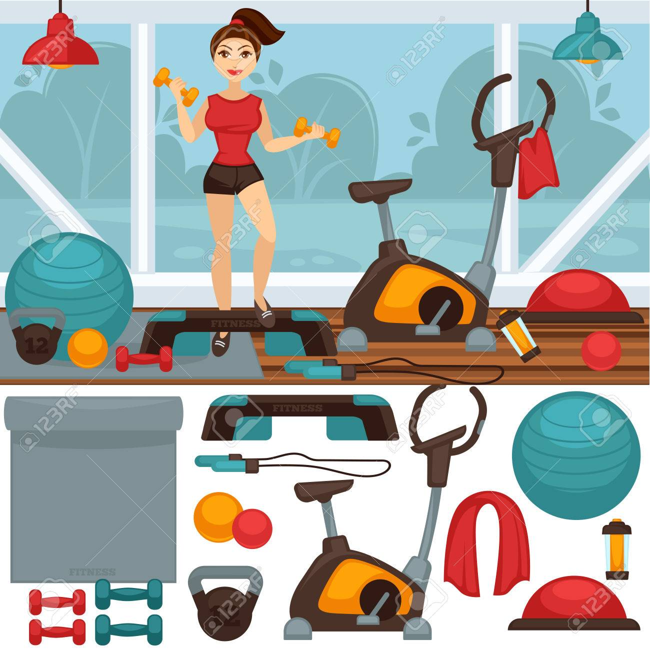 Home Fitness equipment and gym interior - 69487827