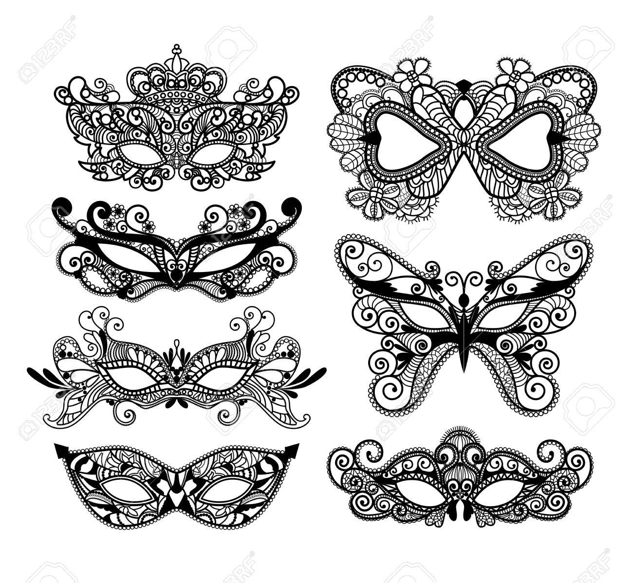 Mardi Gras mask of lace collection set. - 70423400