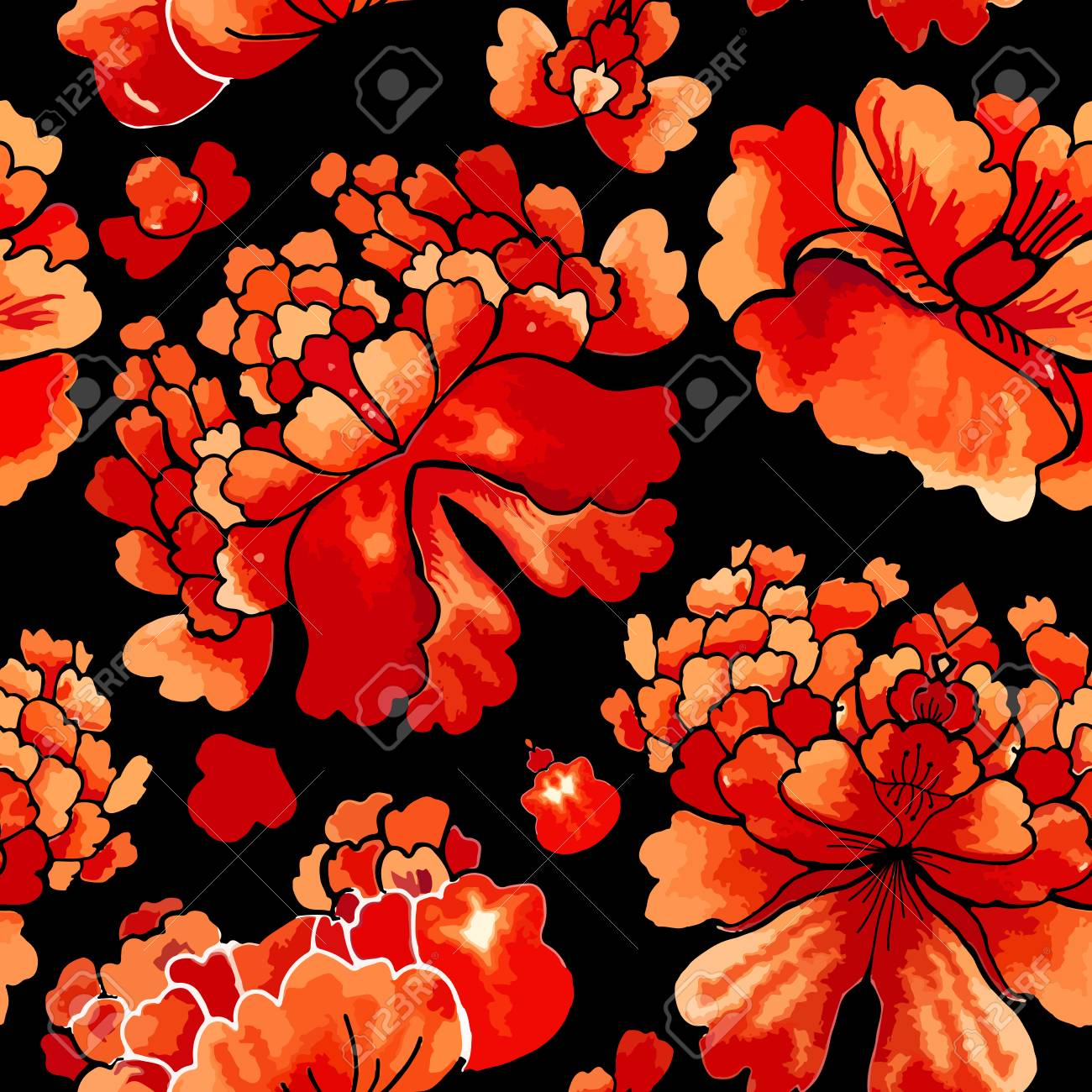 中国のシームレスなパターン 花飾りと水彩風壁紙 のイラスト素材 ベクタ Image
