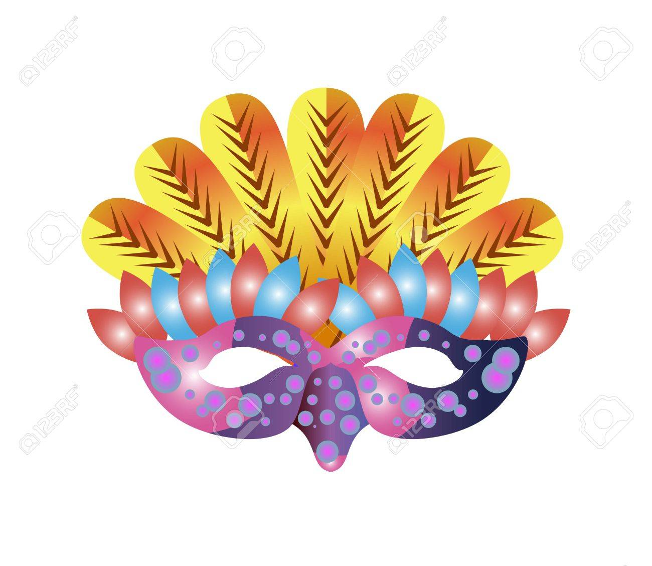 Carnival Mask For Venetian Masquerade Or Mardi Gras Festival Party Vector Illustration Of Isolated