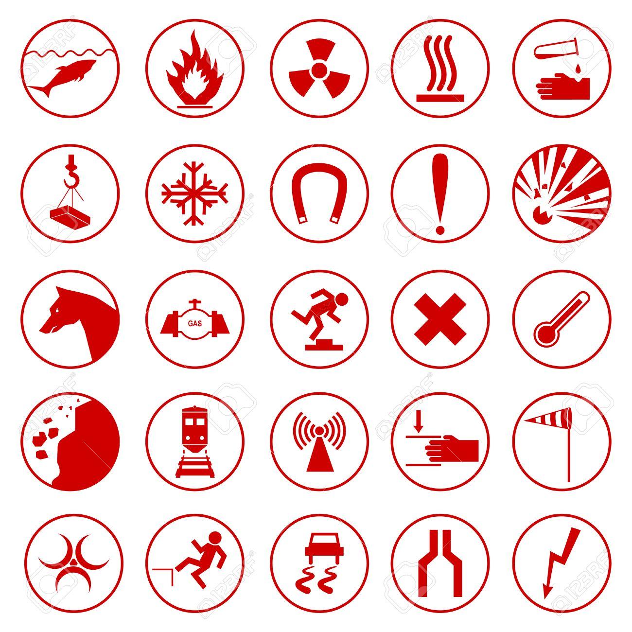 cdfe2e2c642a5 Conjunto de señales de advertencia y peligro. Foto de archivo - 71453325
