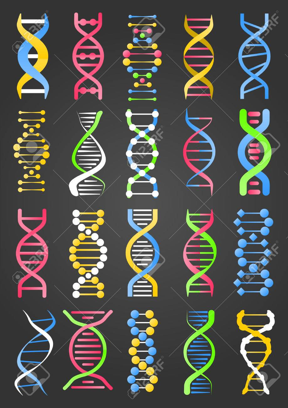 DNA Molecule Strand Signs Collection on Black - 71453404