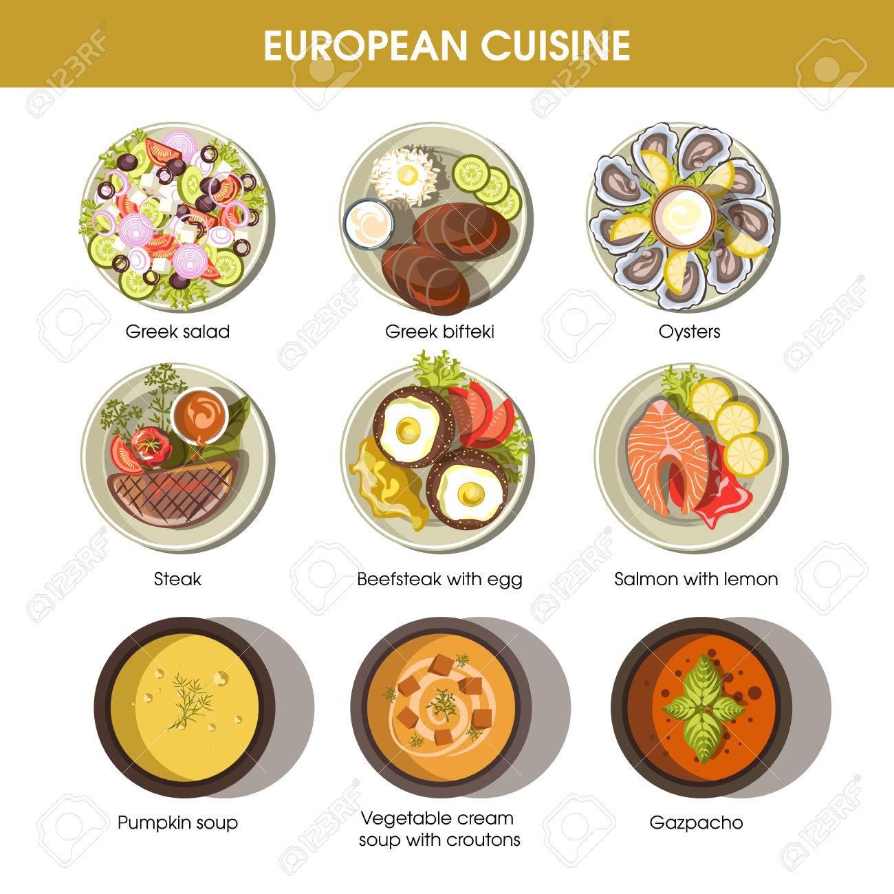Europäische Küche Speisen Für Menü Vektor-Vorlagen Lizenzfrei ...