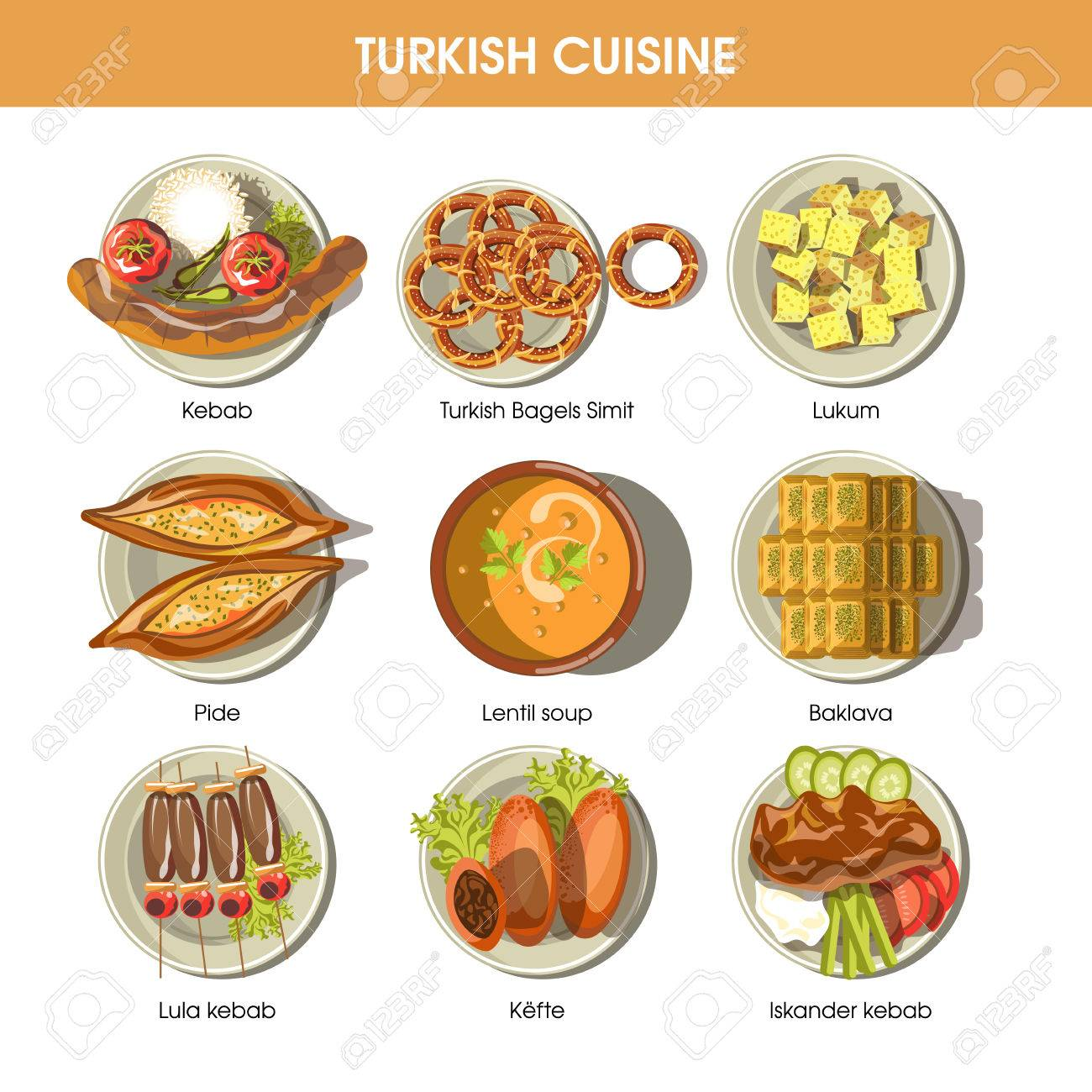 Turkish Food Cuisine Vector Icons For Restaurant Menu Royalty Free ...