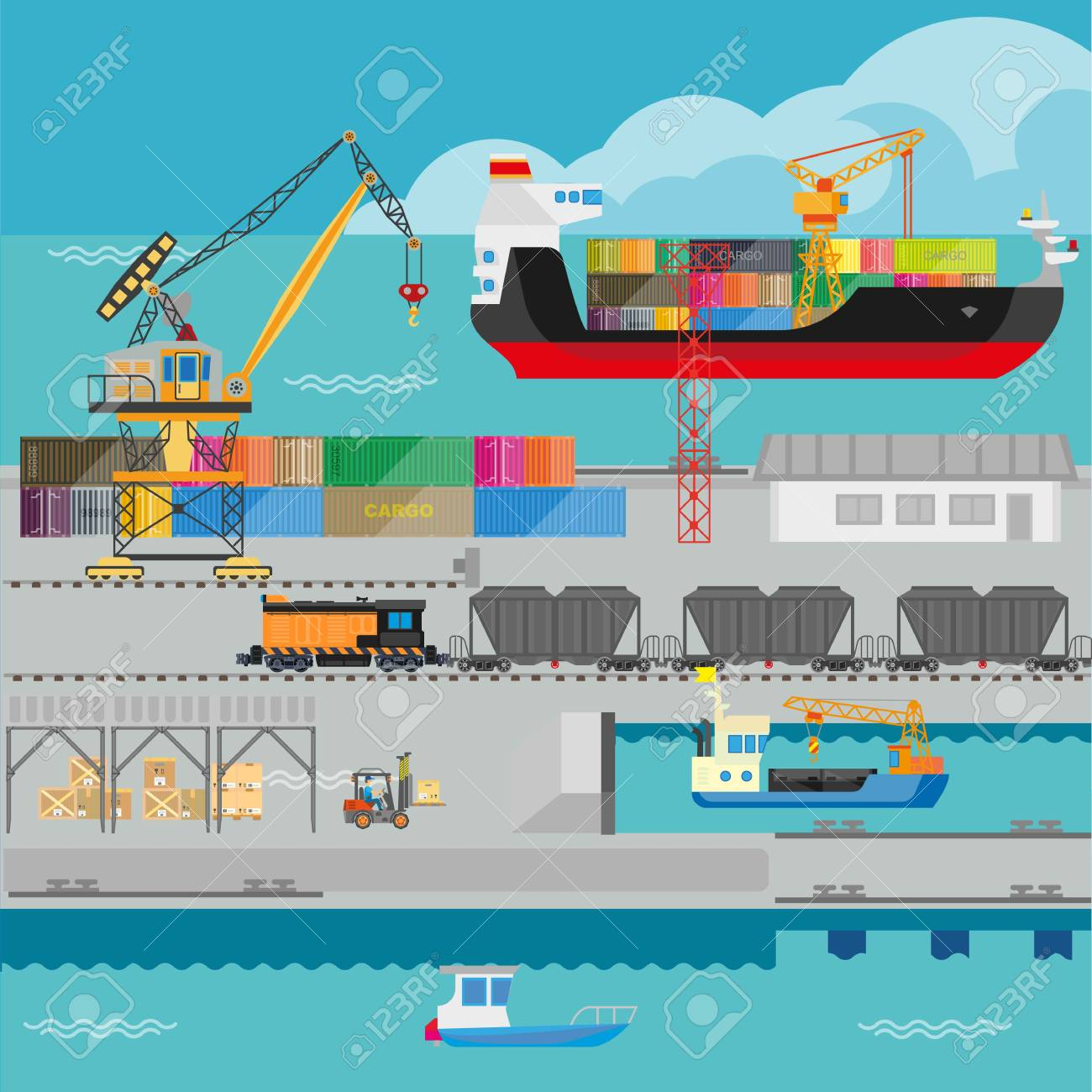 Logistics In Port Shipping Infographics Vector Template Royalty Free ...