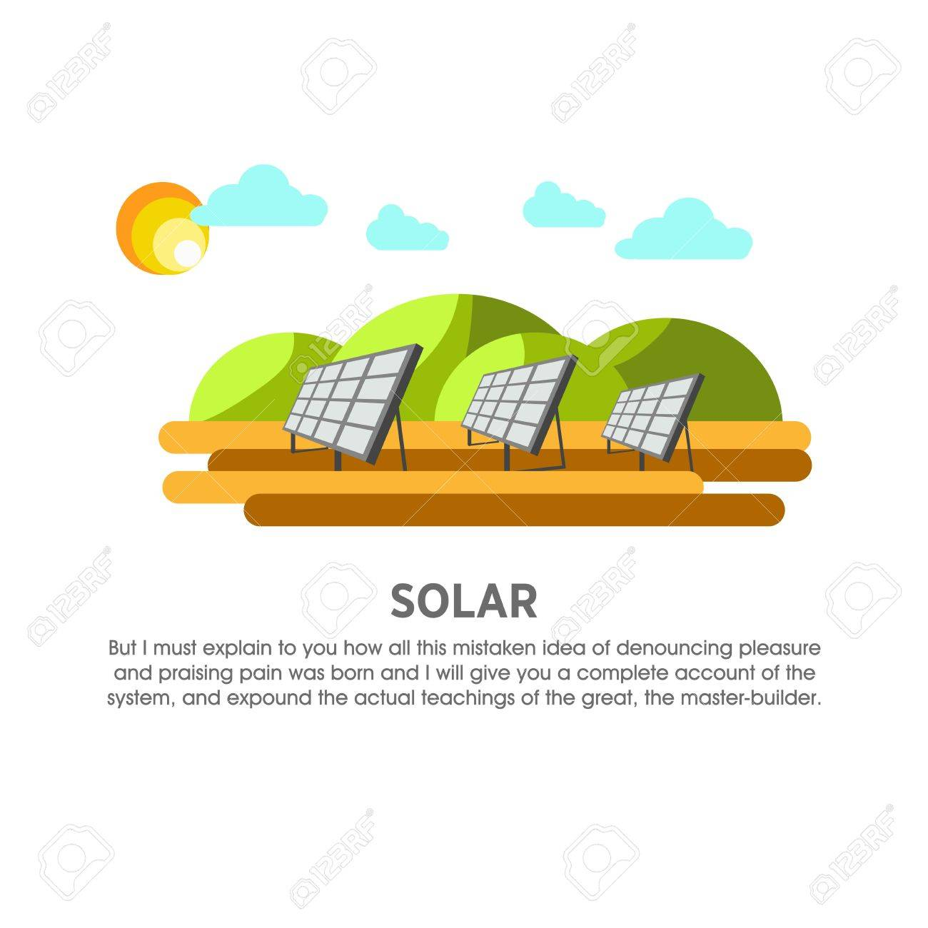 Solar Power Plant Sunlight Panel Vector Flat Illustration Royalty Free Cliparts Vectors And Stock Illustration Image 71969686