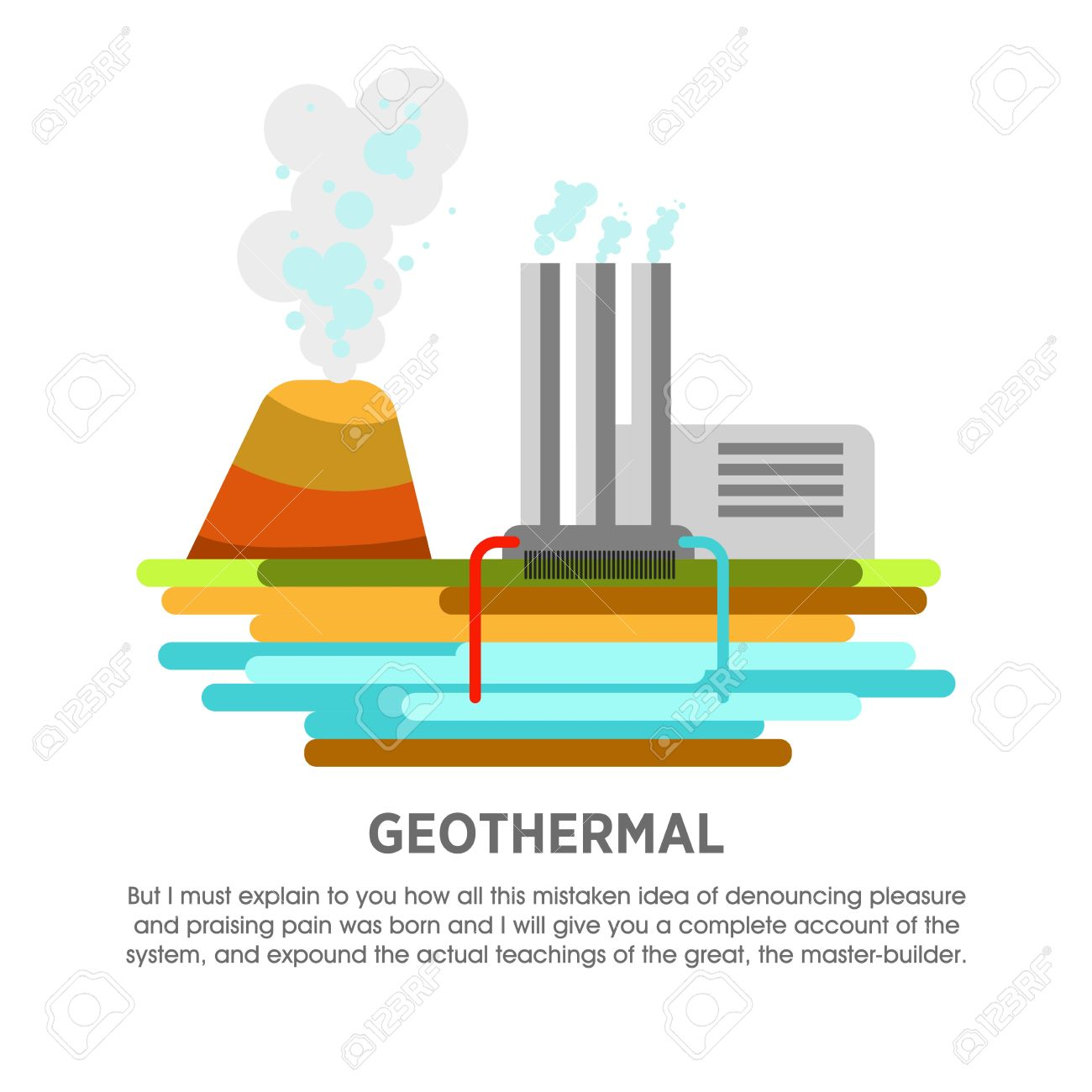 Thermal Energy Clip Geothermal Power Plant Diagram Station Earth Heat Vector Flat Illustration Stockfoto 1300x1300