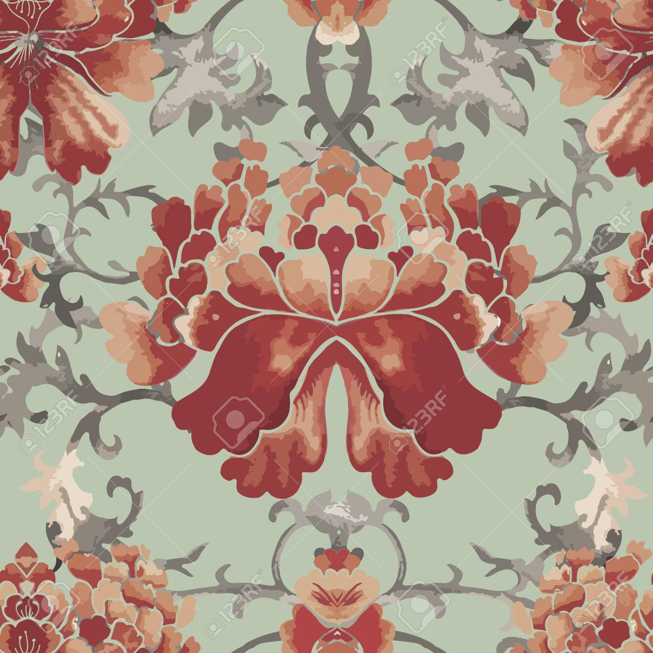 Seamless Chinese Pattern Watercolor Style Wallpaper With Floral