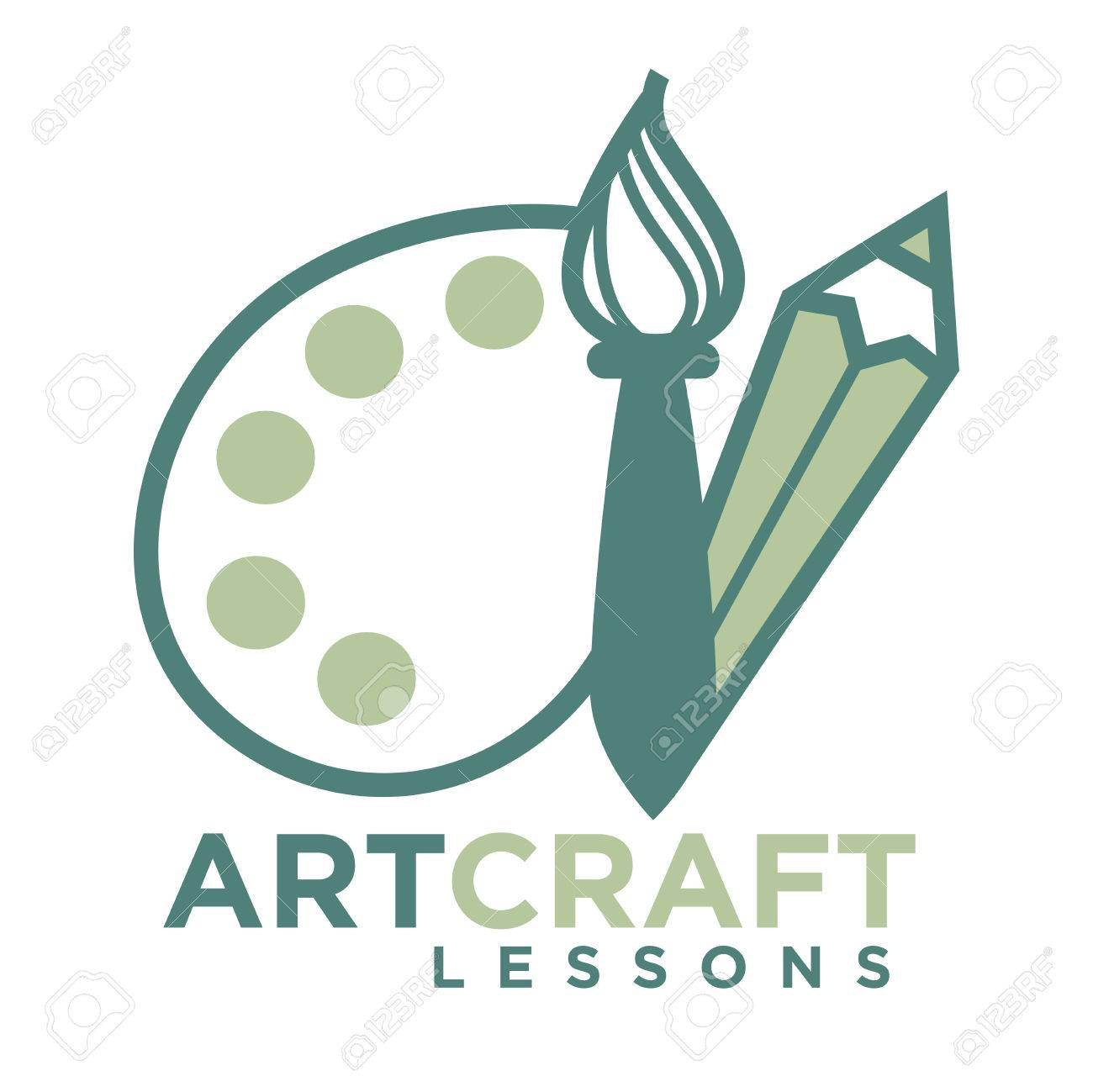 Artcraft Logo Emblem With Pencil And Brush With Palette Royalty Free