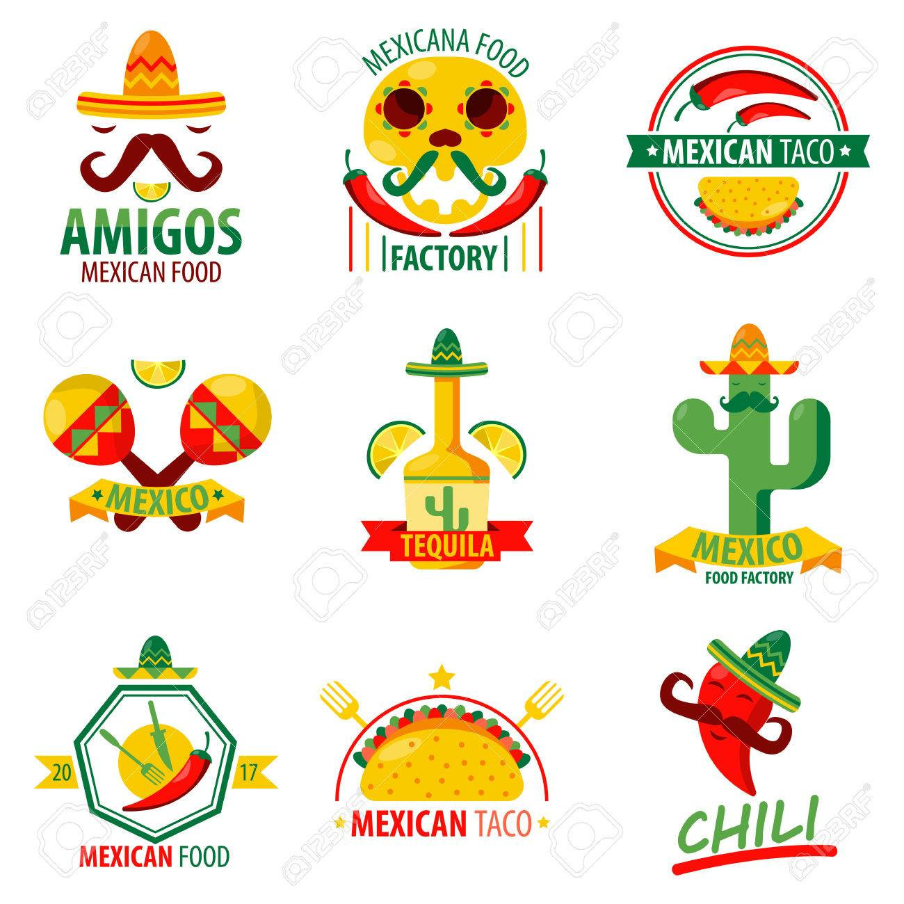 Mexikanisches Essen Und Getränke Logo Embleme Vektor Poster Auf Weiß ...