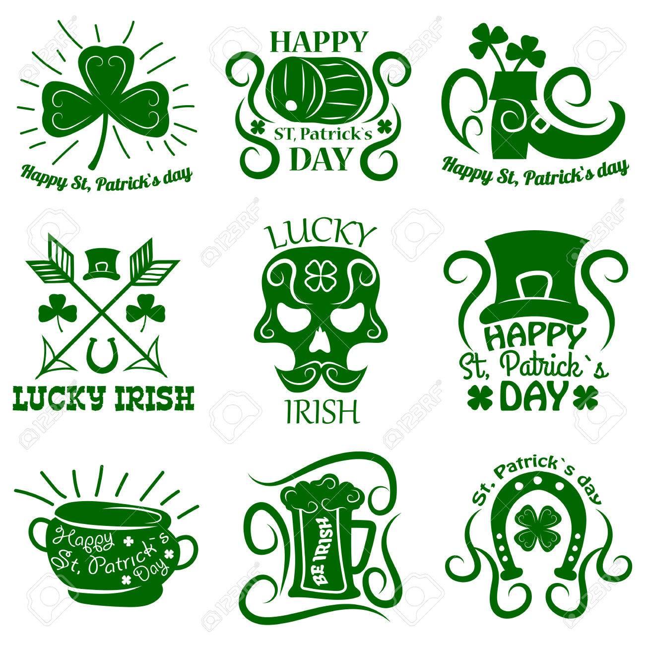 Saint patrick logos set of clover leaf and leprechaun symbols saint patrick logos set of clover leaf and leprechaun symbols stock vector 72312428 biocorpaavc
