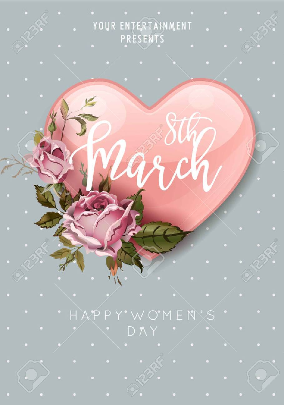 8 March Women Day heart and flower bouquet greeting poster - 72312441