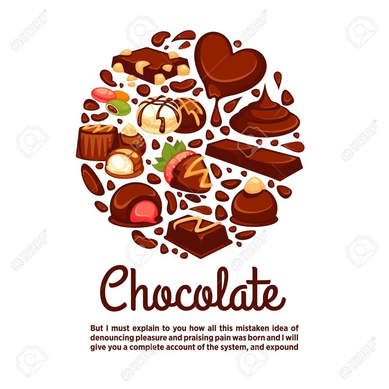 Plantilla Del Cartel Del Corazón Del Chocolate De Postres Y Dulces ...