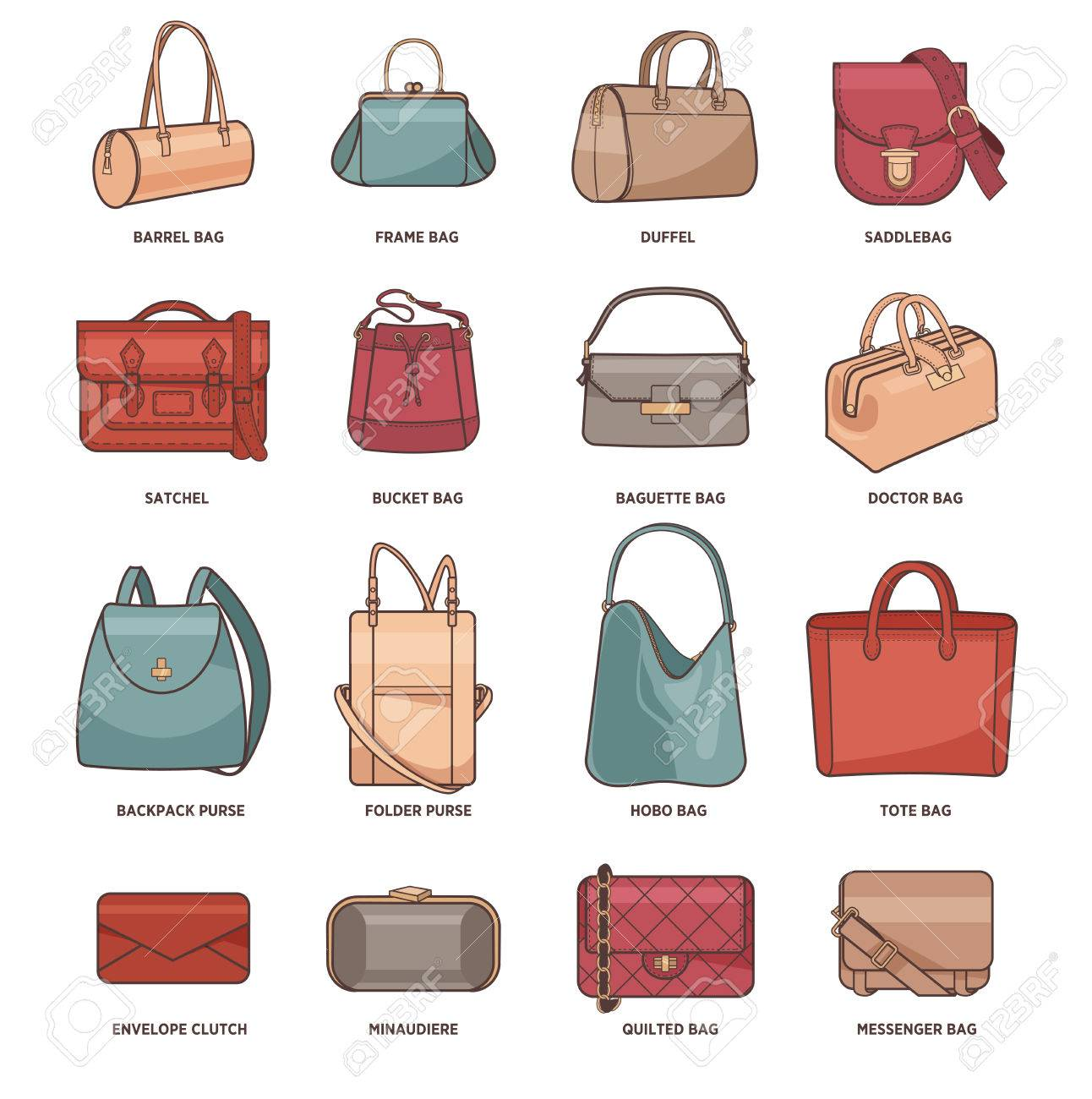 8c09fa9b Vector Set Of Different Types Of Fashion Bags Royalty Free Cliparts ...