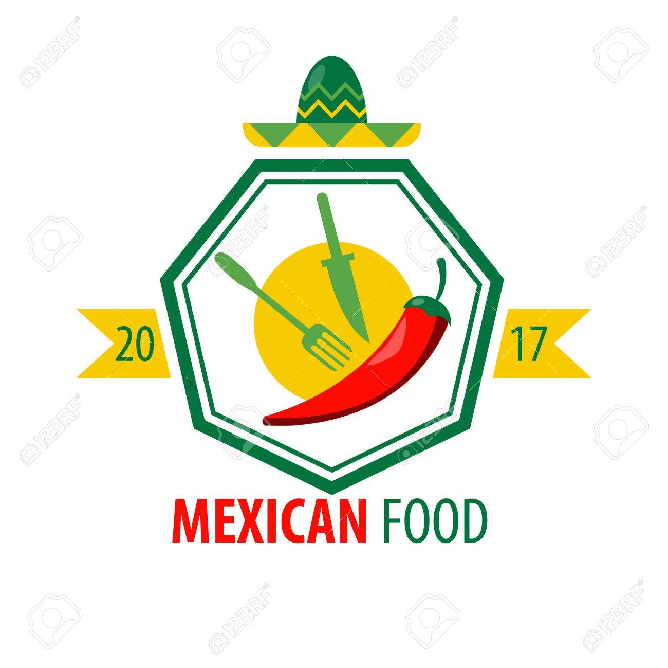 mexican food logo design with kitchen cutlery and red chili royalty rh 123rf com mexican food logansport mexican food lodo denver