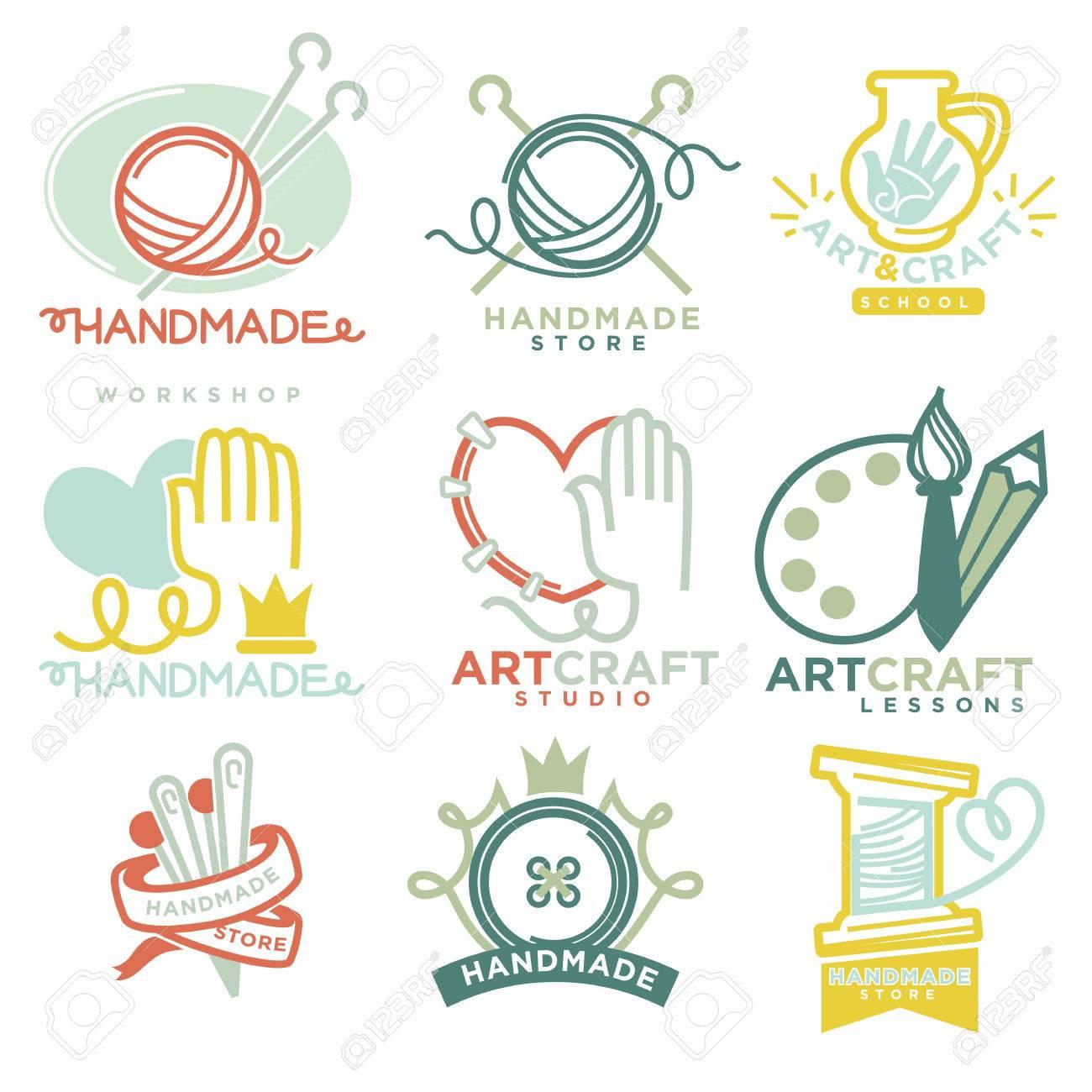 Art And Handmade Craft Logo Templates Flat Set Royalty Free