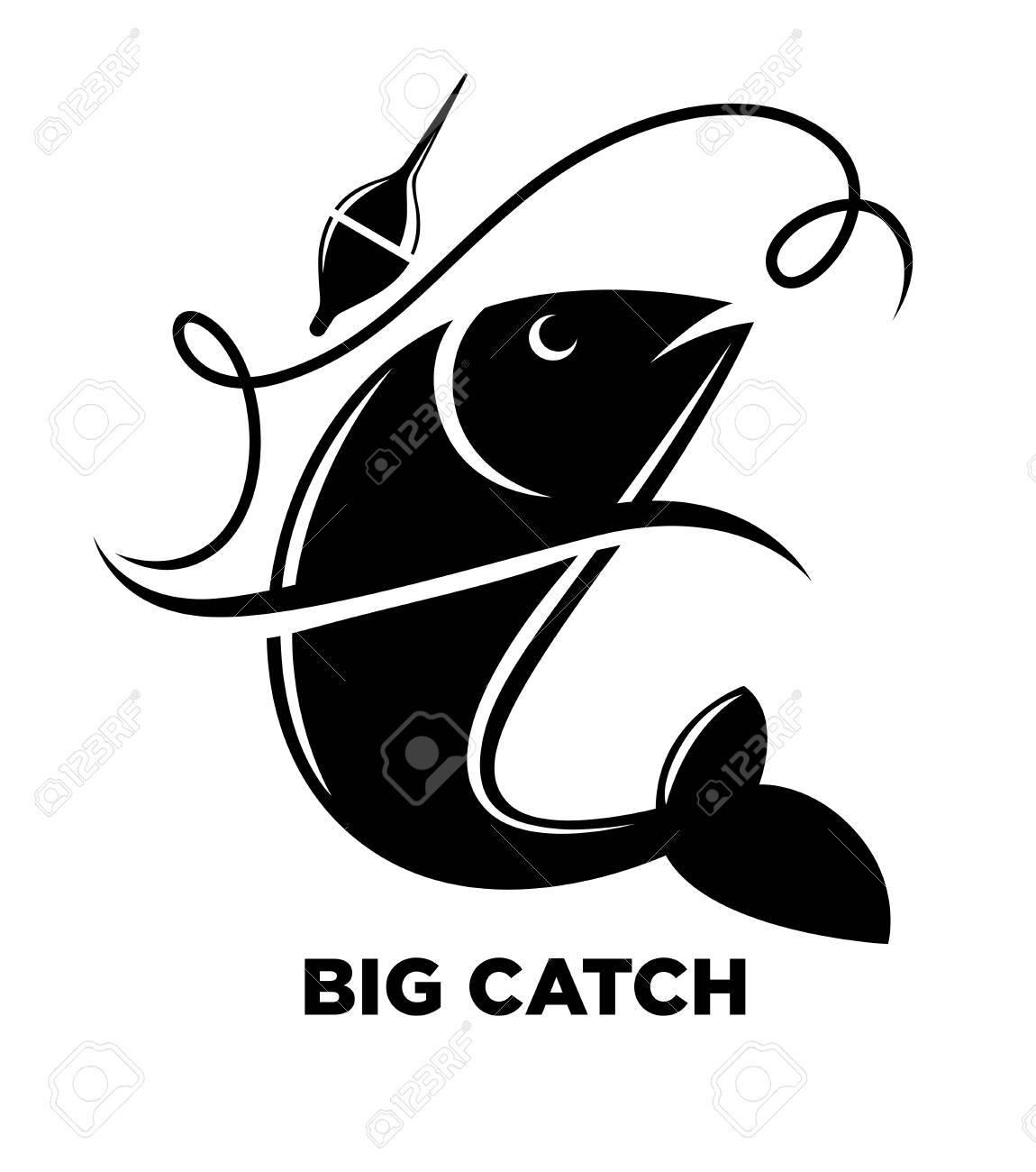 Angeln Icon Von Fisch Auf Haken Für Fischer Club Oder Fischerei Meer ...