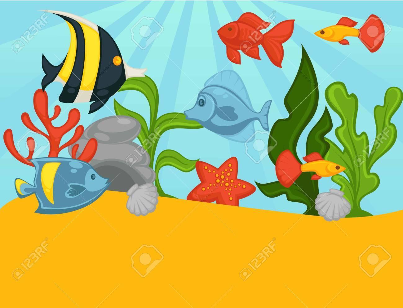 アクアリウム熱帯魚や植物のベクトル イラストのイラスト素材ベクタ
