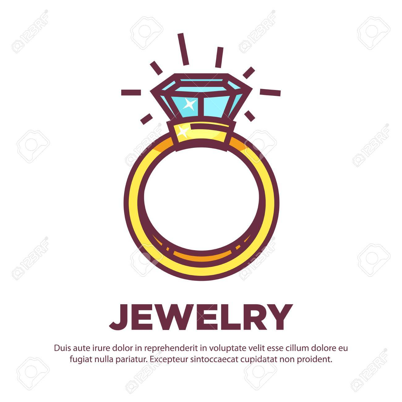 jewelry golden diamond wedding ring vector flat icon design royalty